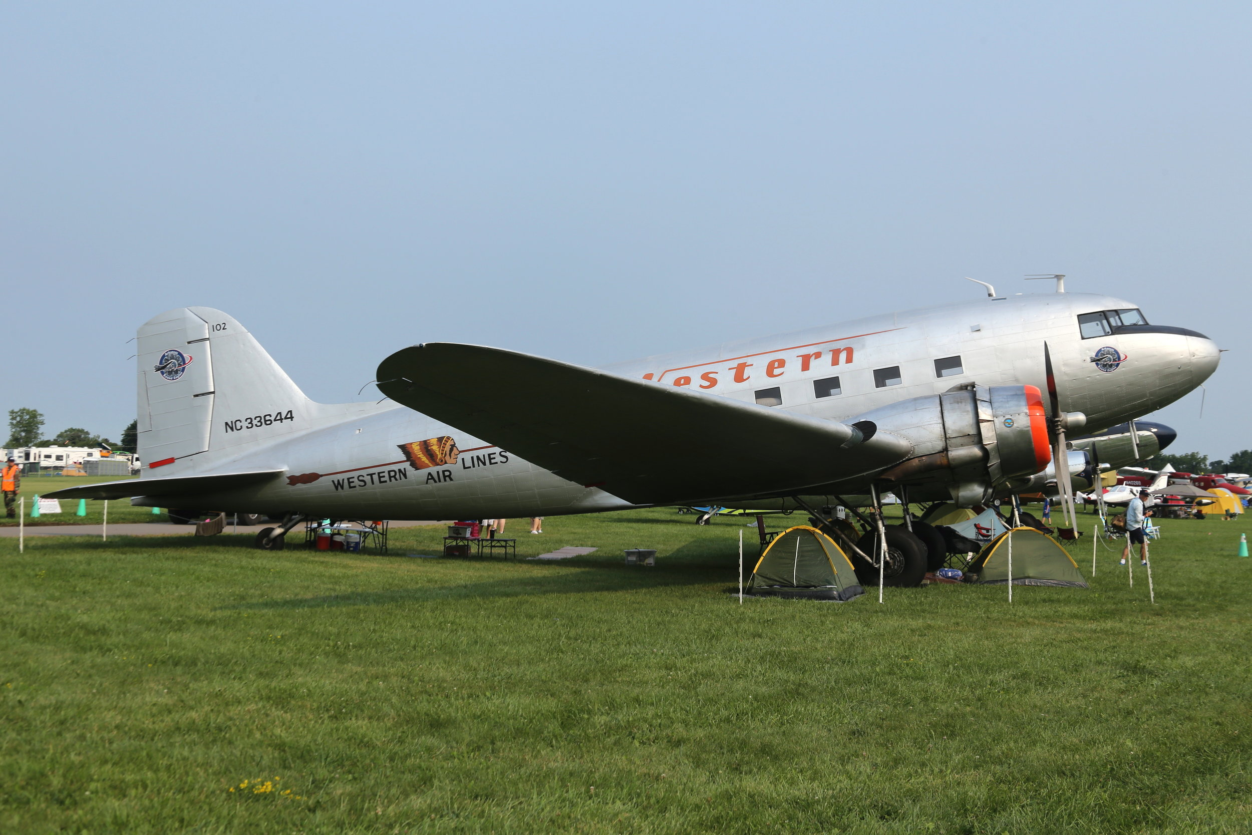 NC33644 Western Airlines DC3 taken at Oshkosh 23rd July 2018 by John Wood