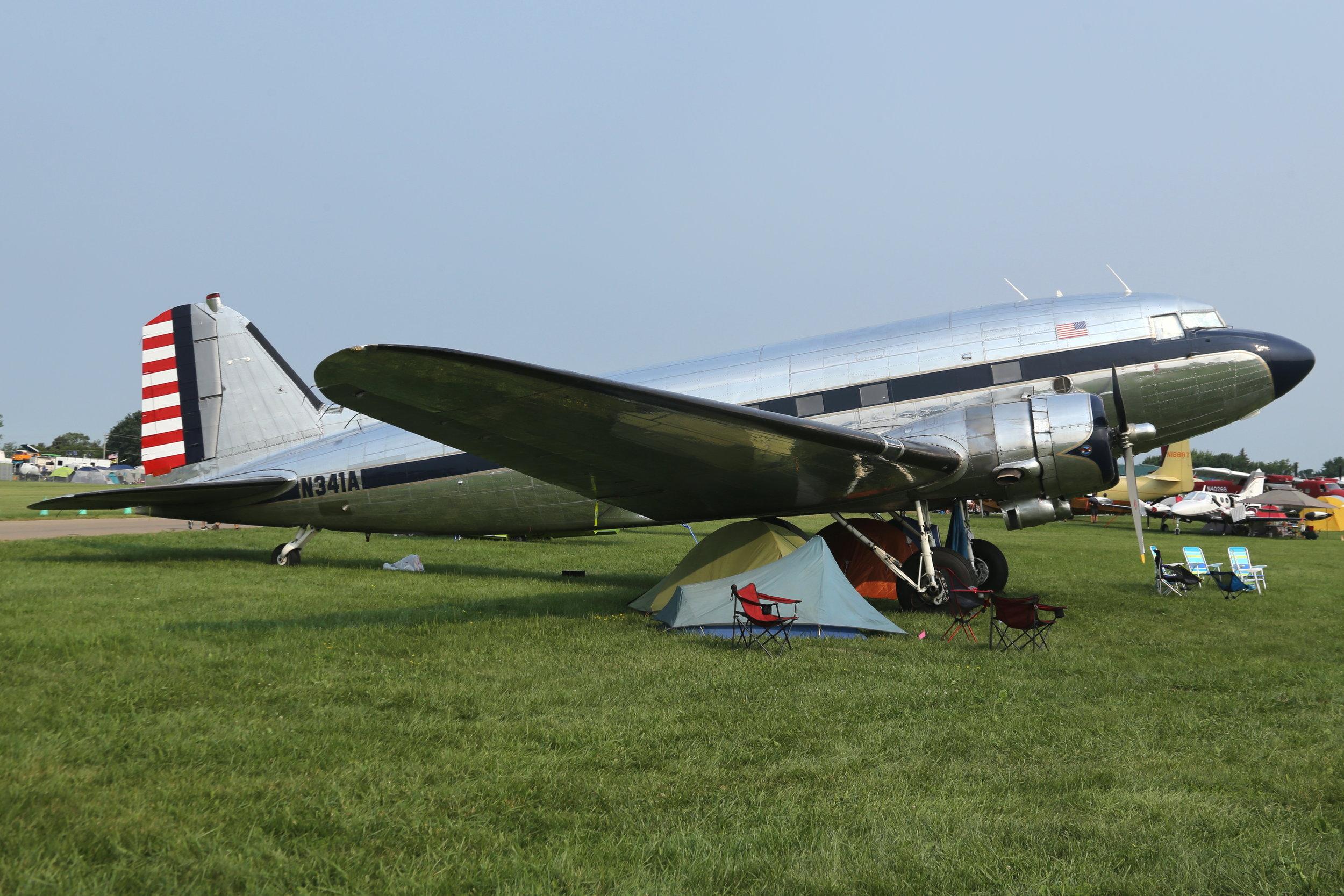 N341A Legend Airways of Colorado DC3 taken at Oshkosh 23rd July 2018 by John Wood