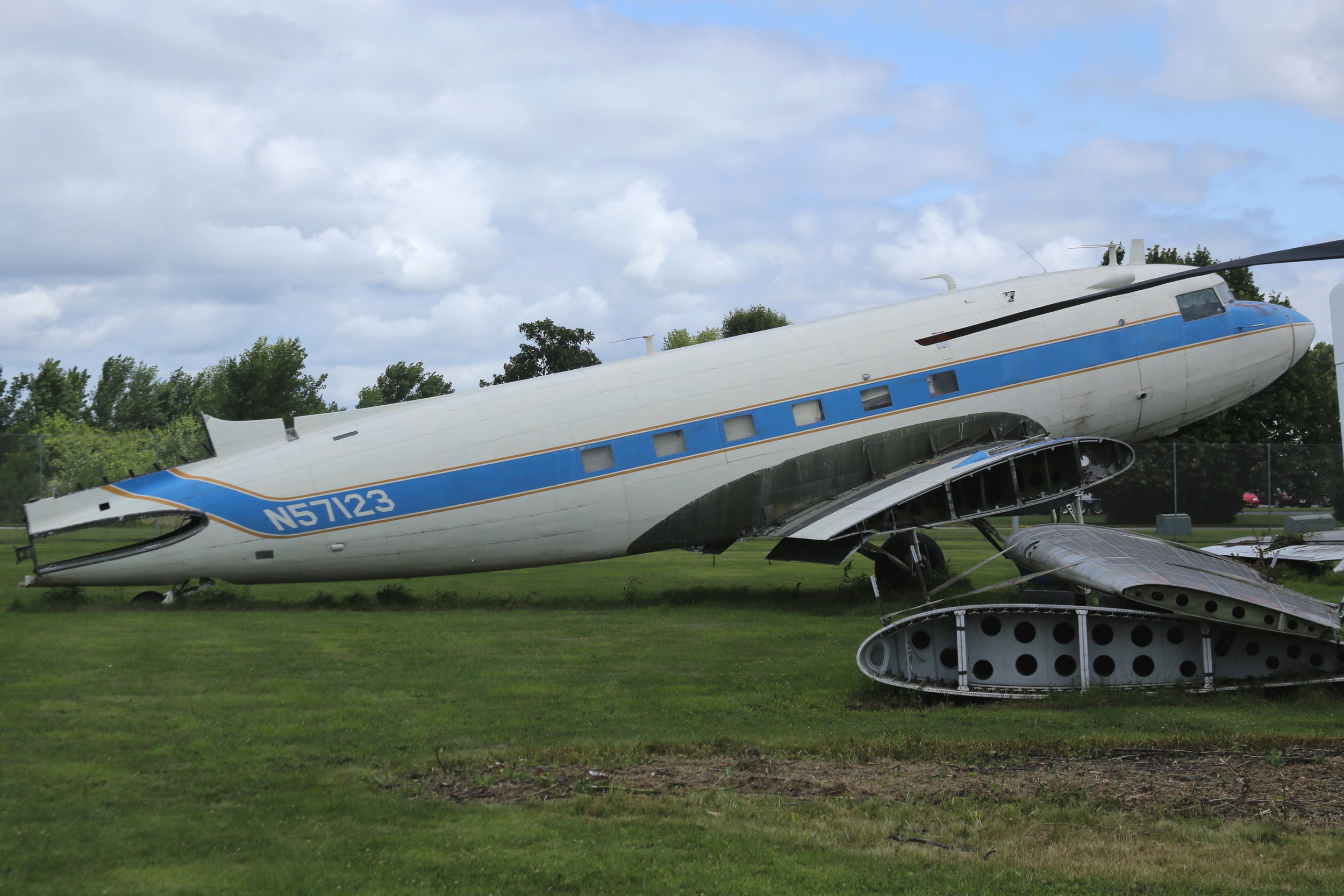 N57123 Ex Aviation Enterprises DC3 taken at Basler Turbo Conversions 26th July 2018 by John Wood