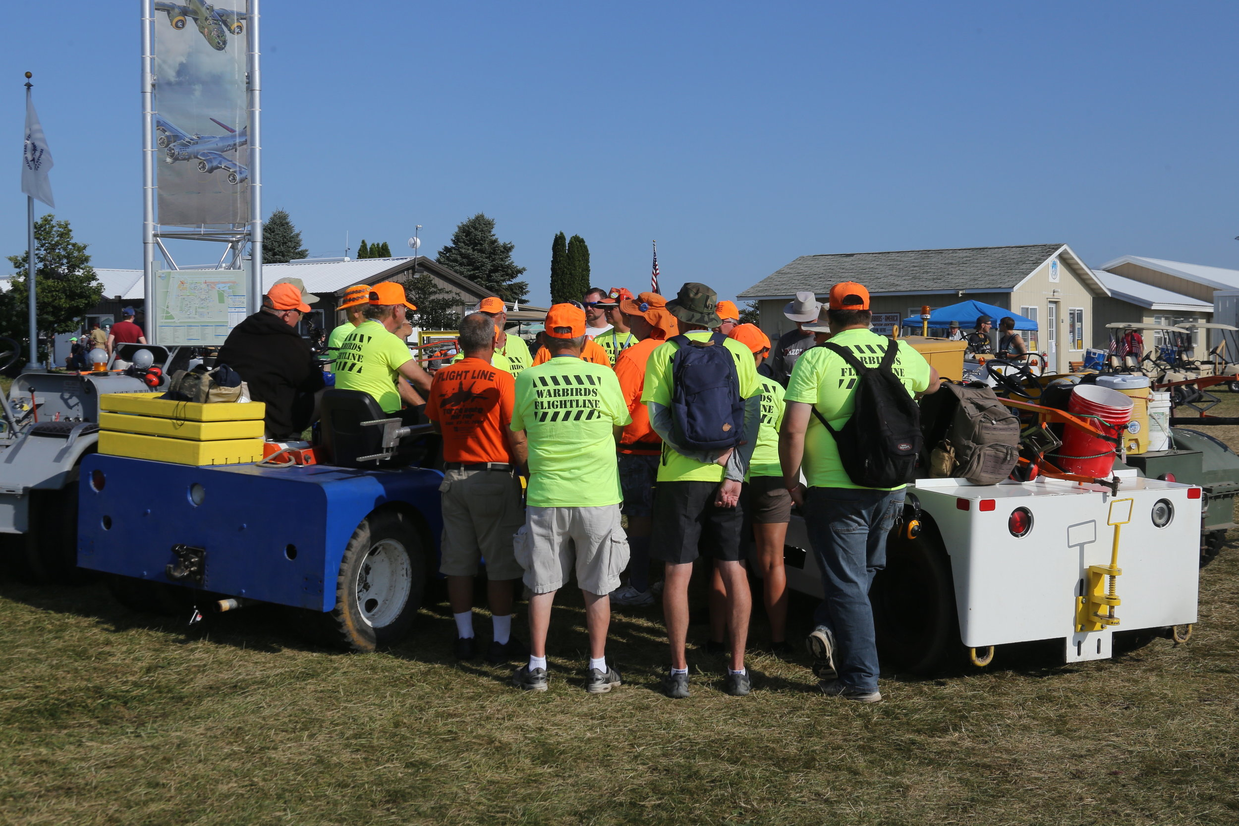 Team briefing for the Warbirds flightline crew taken at Oshkosh 28th July 2018 by John Wood
