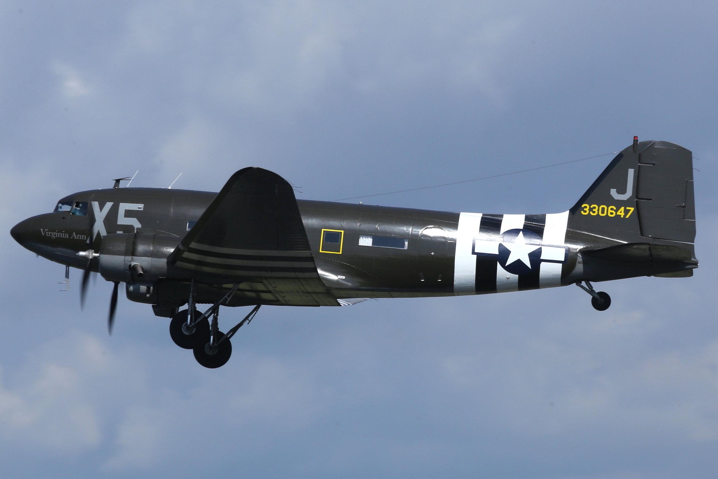 """N62CC Air Classics """"Virginia Ann"""" DC3C departing Fond Du Lac for Oshkosh taken 22nd July 2018 by John Wood"""
