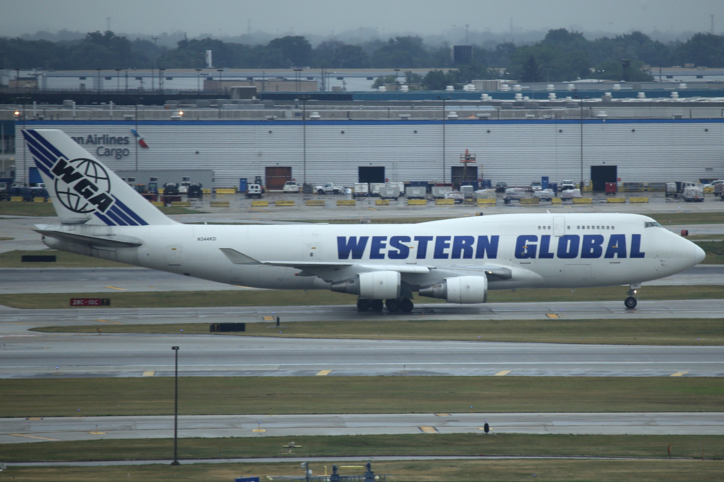 N344KD Western Global B747-4F taken from the Hilton Hotel at Chicago O'Hare Airport 21st July 2018 by John Wood
