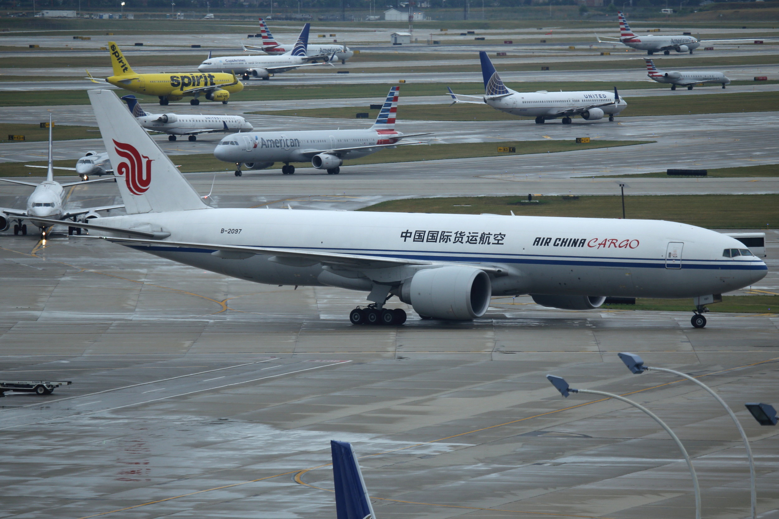 B-2097 Air China Cargo B777-FFT taken from the Hilton Hotel at Chicago O'Hare Airport 21st July 2018 by John Wood