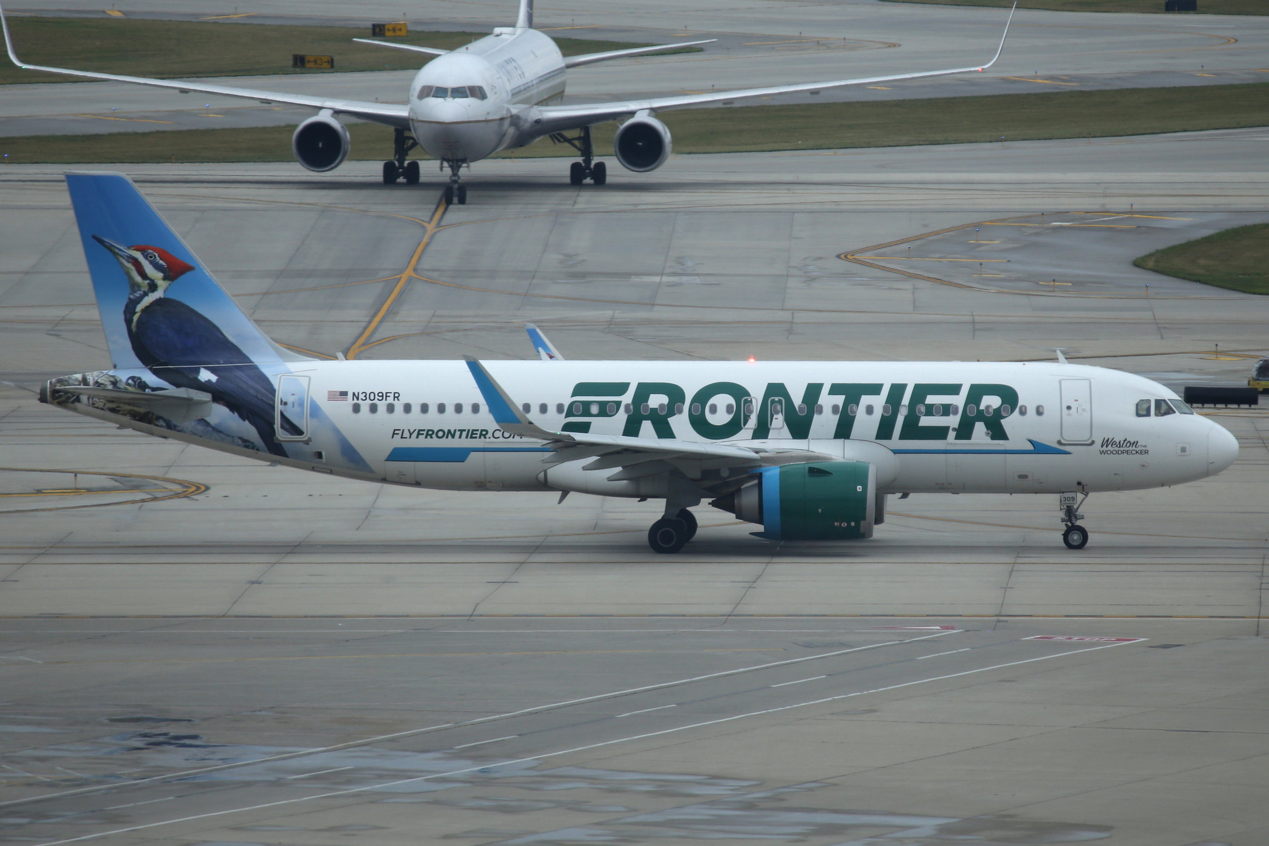 N309FR Frontier A320 taken from Hilton Hotel at Chicago O'Hare Airport 21st July by John Wood