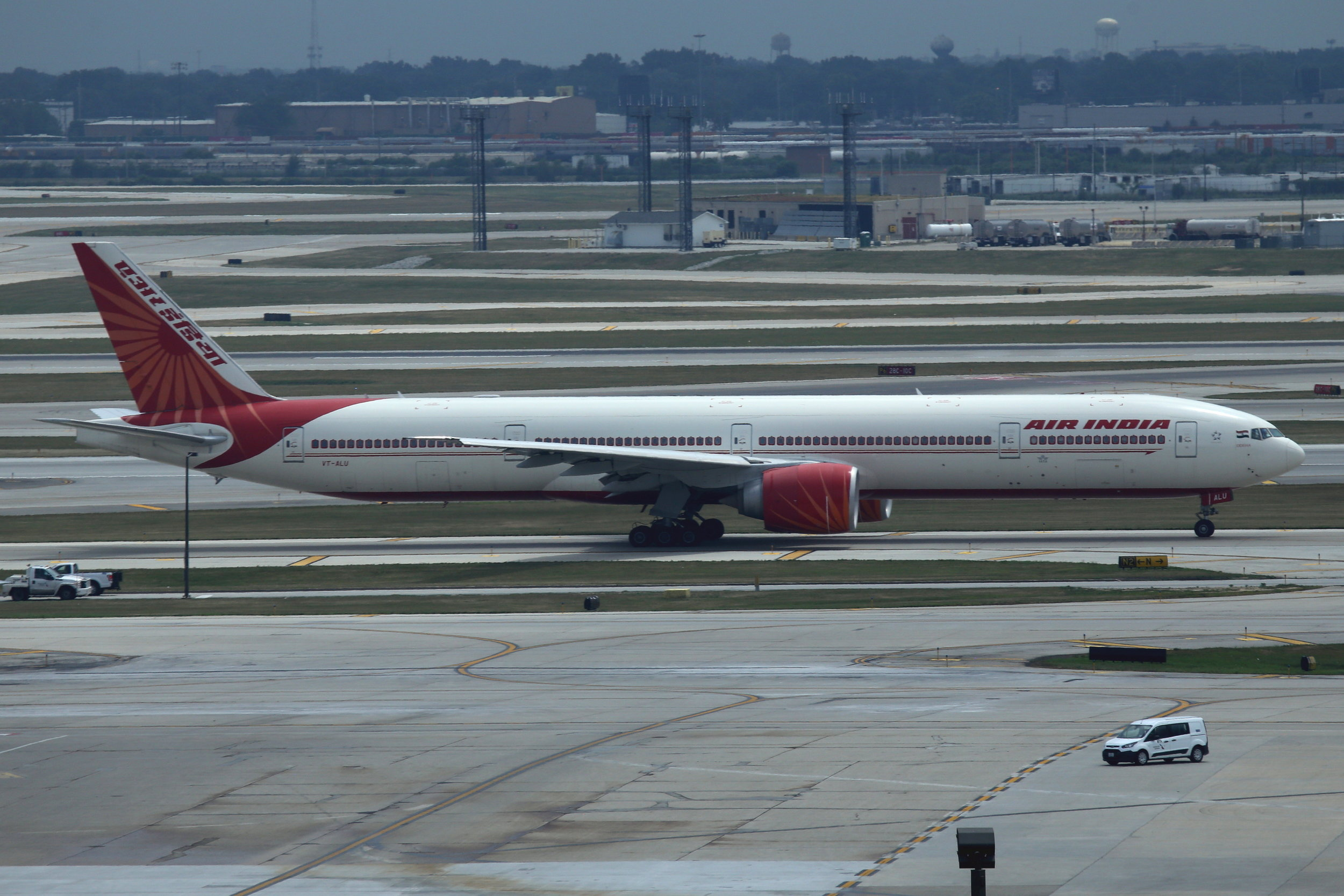 VT-ALU Air India B777-3 taken from the Hilton Hotel at Chicago O'Hare Airport 21st July 2018 by John Wood