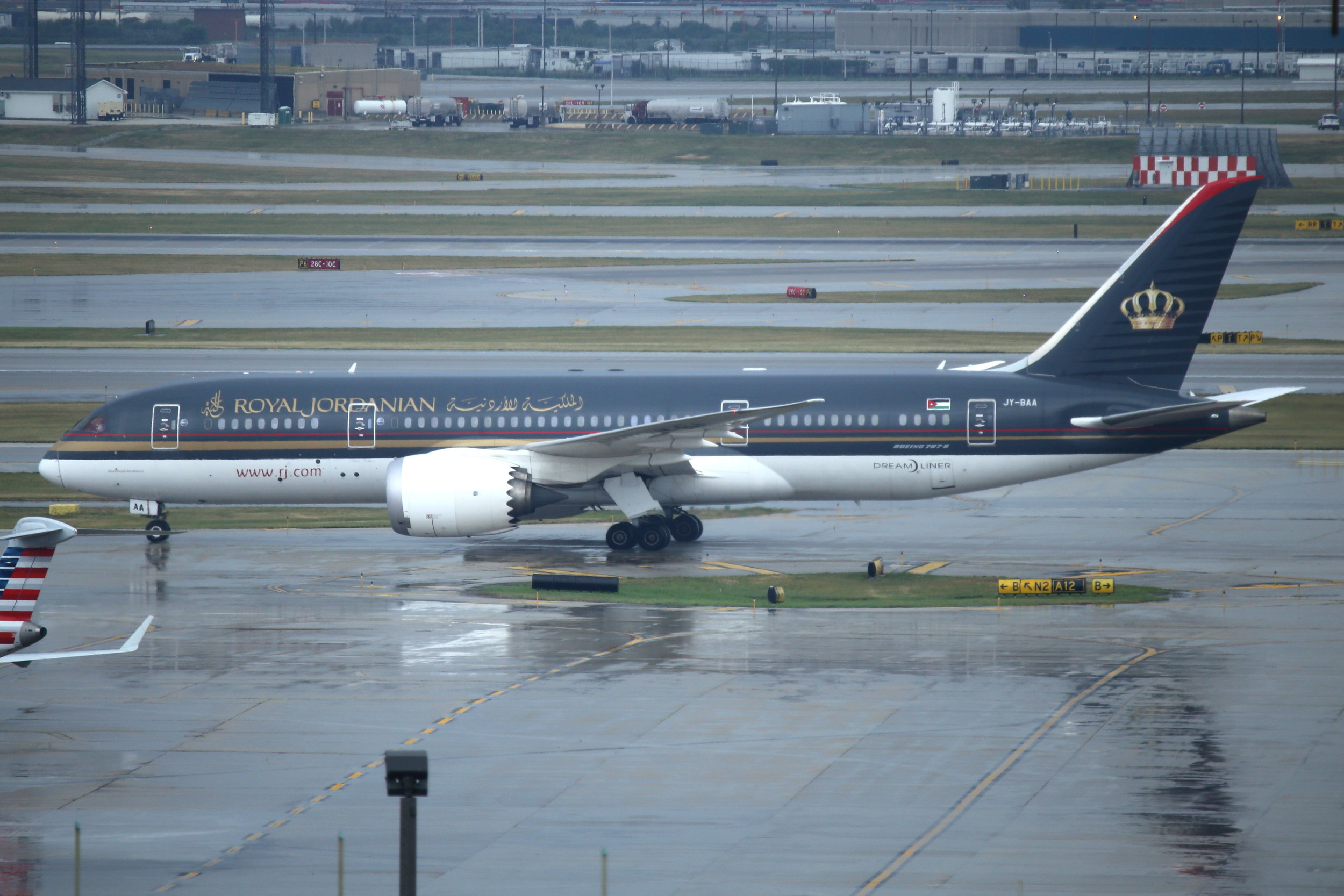 JY-BAA Royal Jordanian B787-8 taken from the Hilton Hotel at Chicago O'Hare Airport 21st July 2018 by John Wood