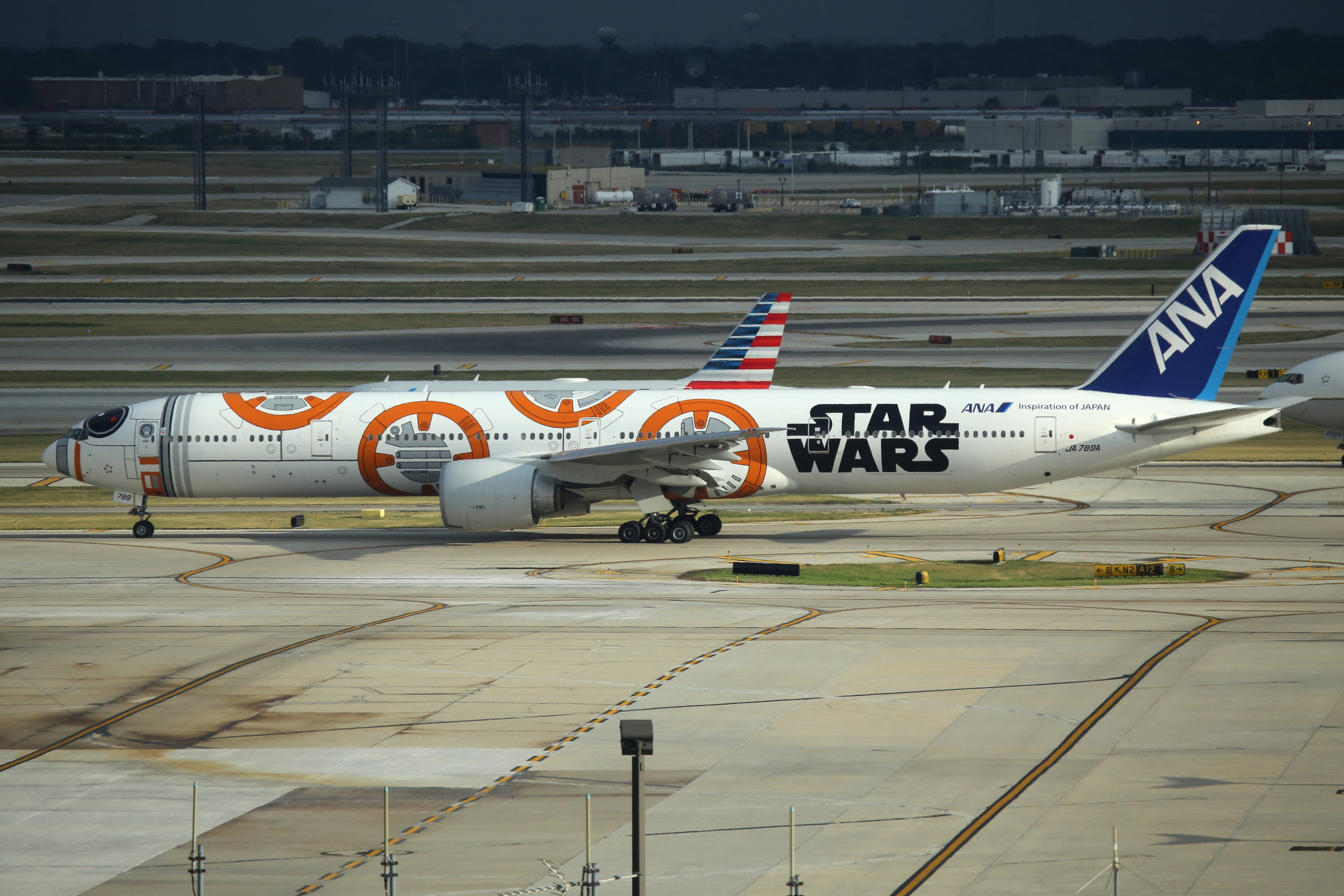 """JA789A ANA B777-3 """"Star Wars"""" taken from the Hilton Hotel at Chicago O'Hare Airport 21st July 2018 by John Wood"""