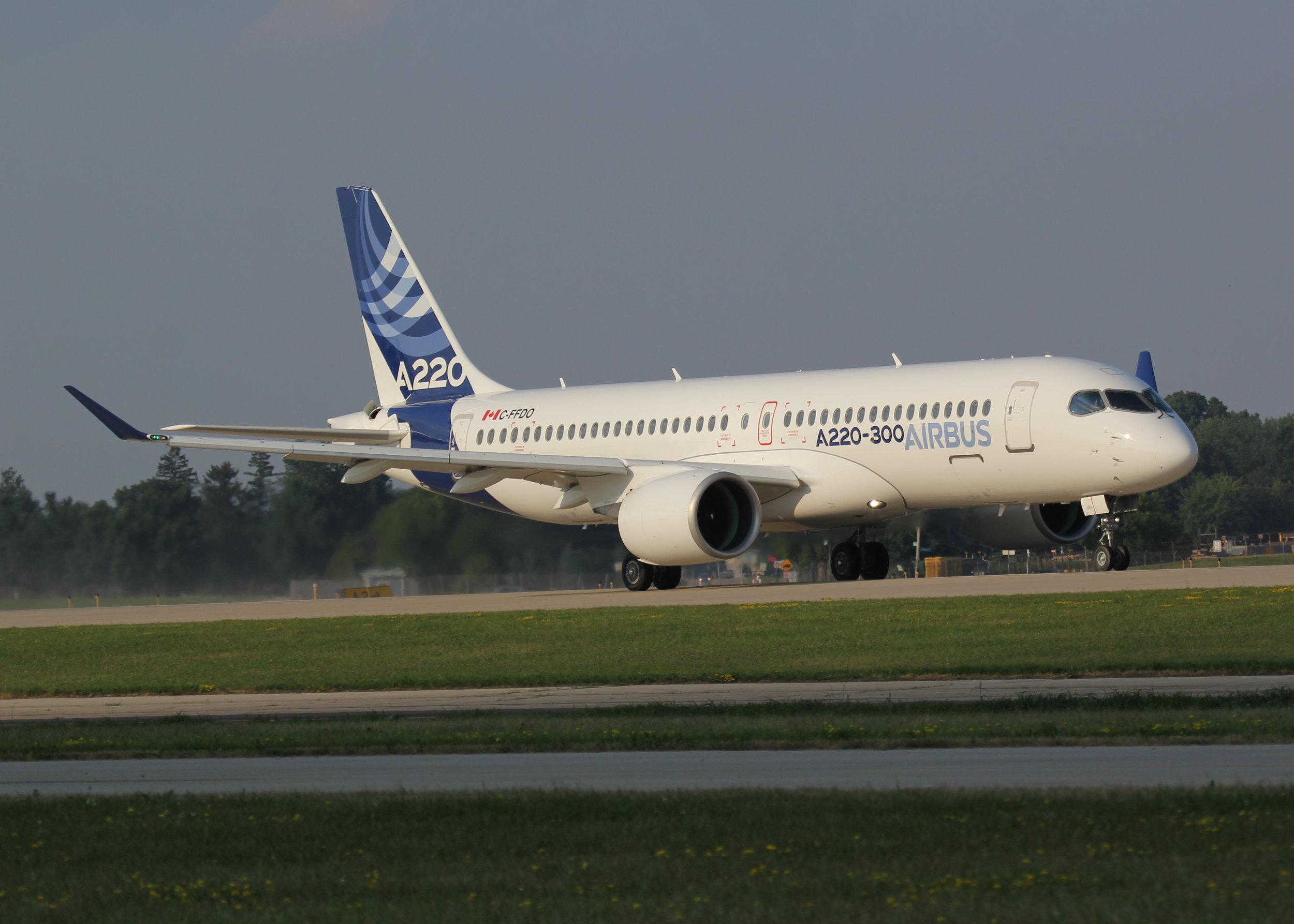 C-FFDO Airbus A220-300 taken at Oshkosh 24th July 2018 by Alec Rankin
