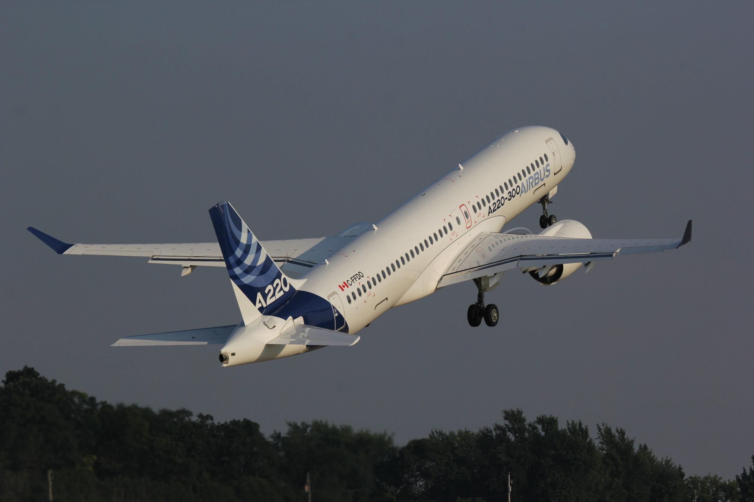 C-FFDO Airbus A220-300 departing Oshkosh 24th July 2018 taken by Alec Rankin