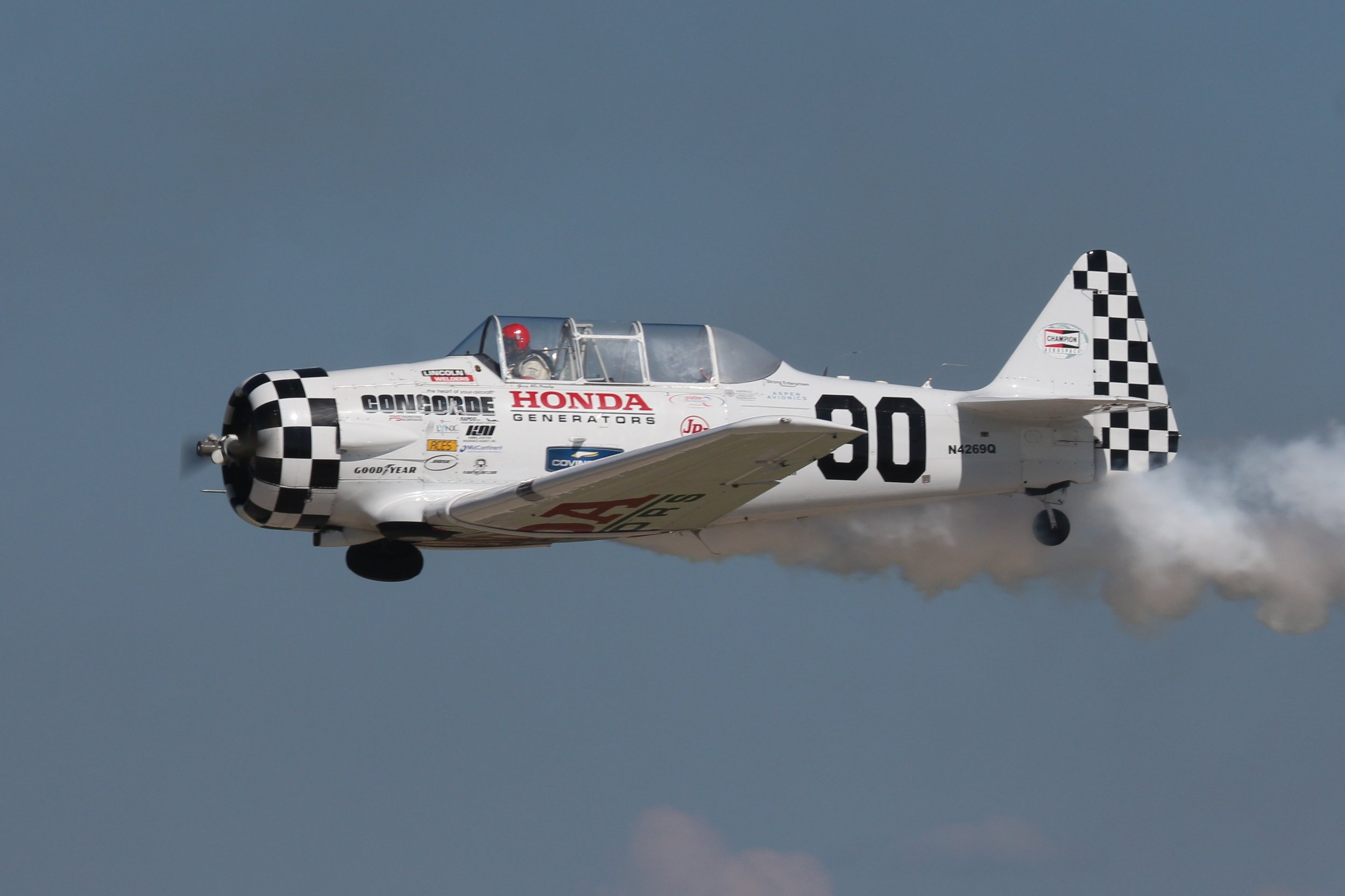 N4269Q North American Medore T-6G displaying at Oshkosh 24th July 2018 by Andrew Tenny