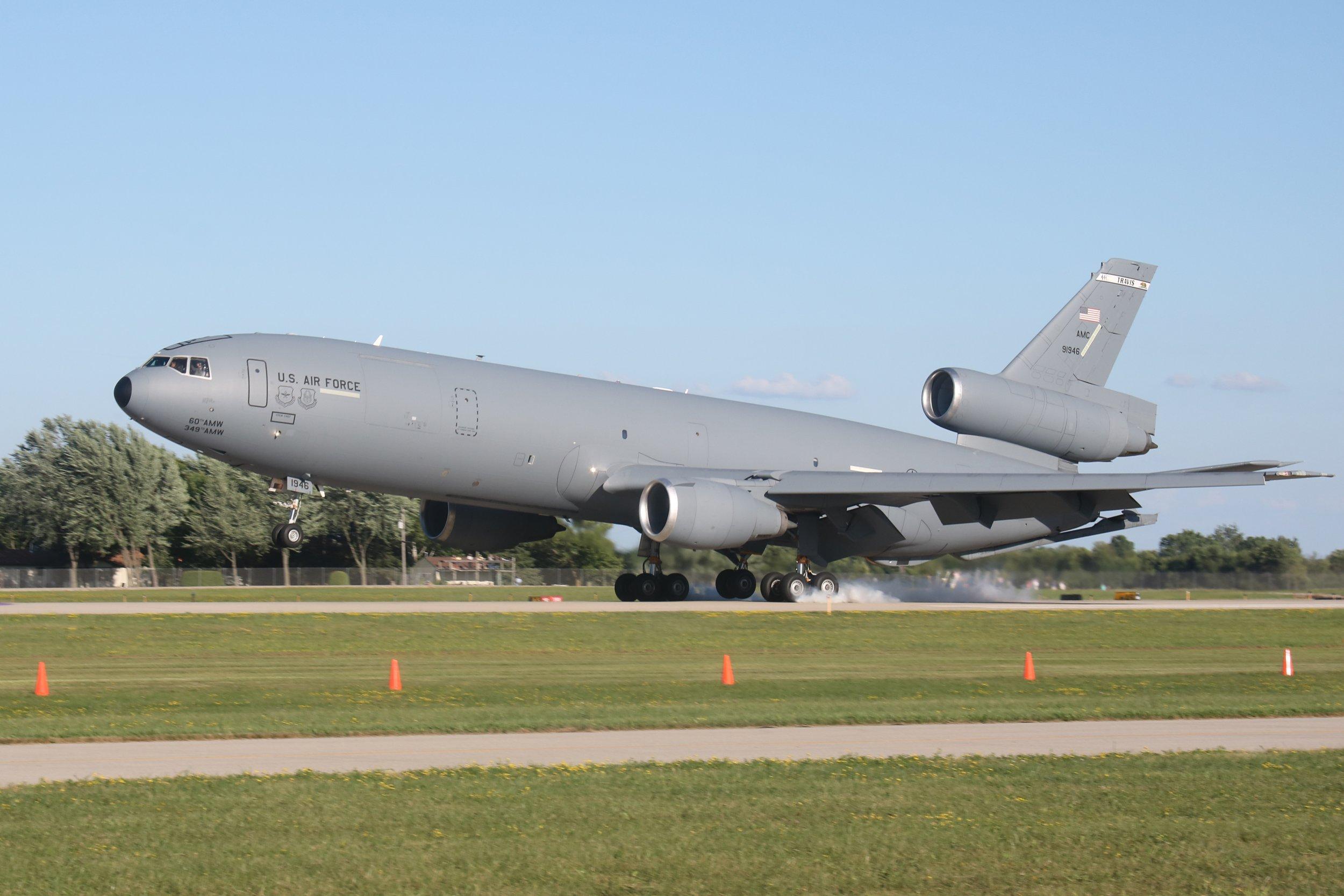 79-1946 USAF McDonnell Douglas KC-10A landing at Oshkosh 24th July 2018 taken by Andrew Tenny