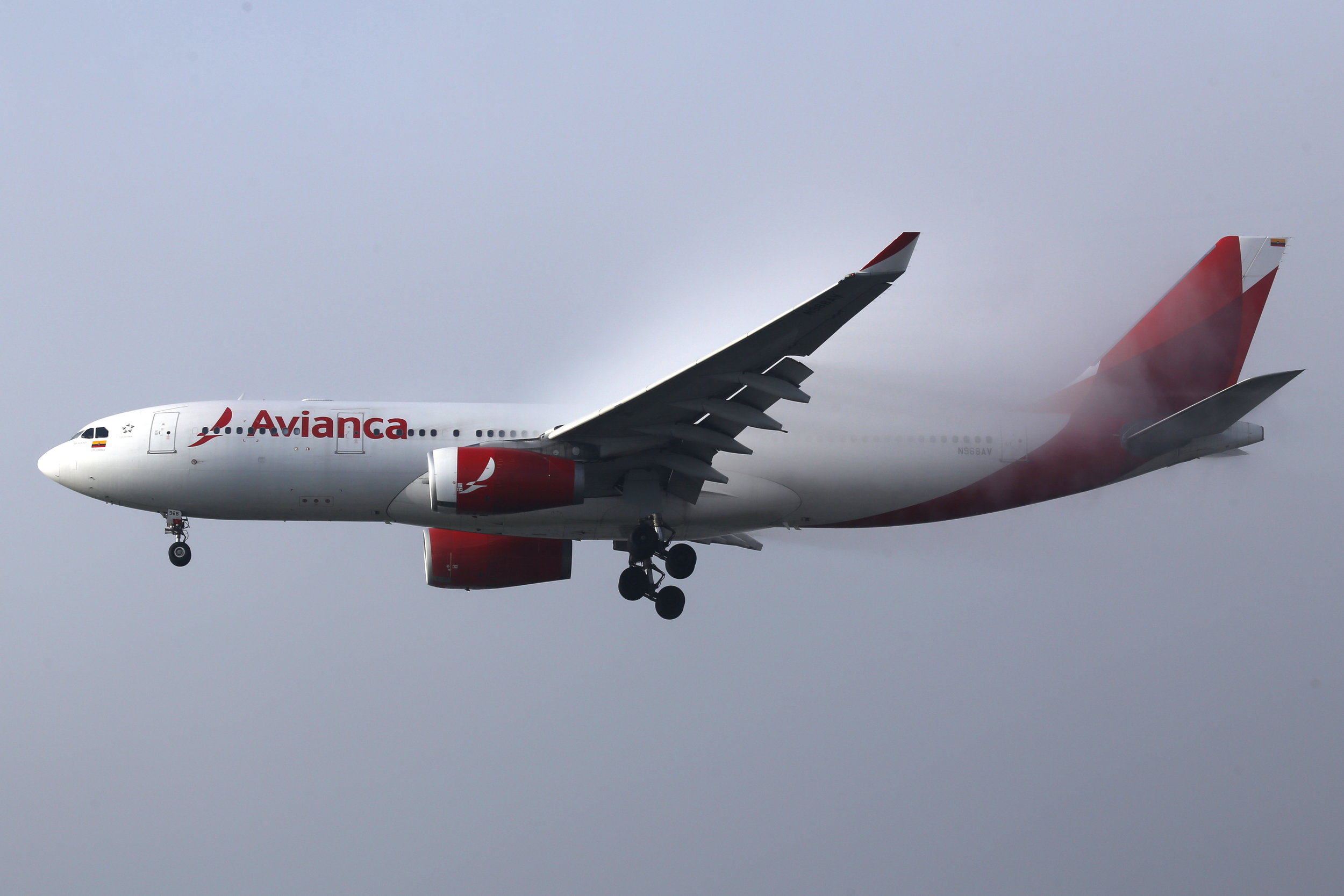 N968AV Avianca A330-200 taken from the roof of the Matiz Hotel at Sao Paulo Guarulhos Airport 27th April 2019 on a foggy morning by John Wood