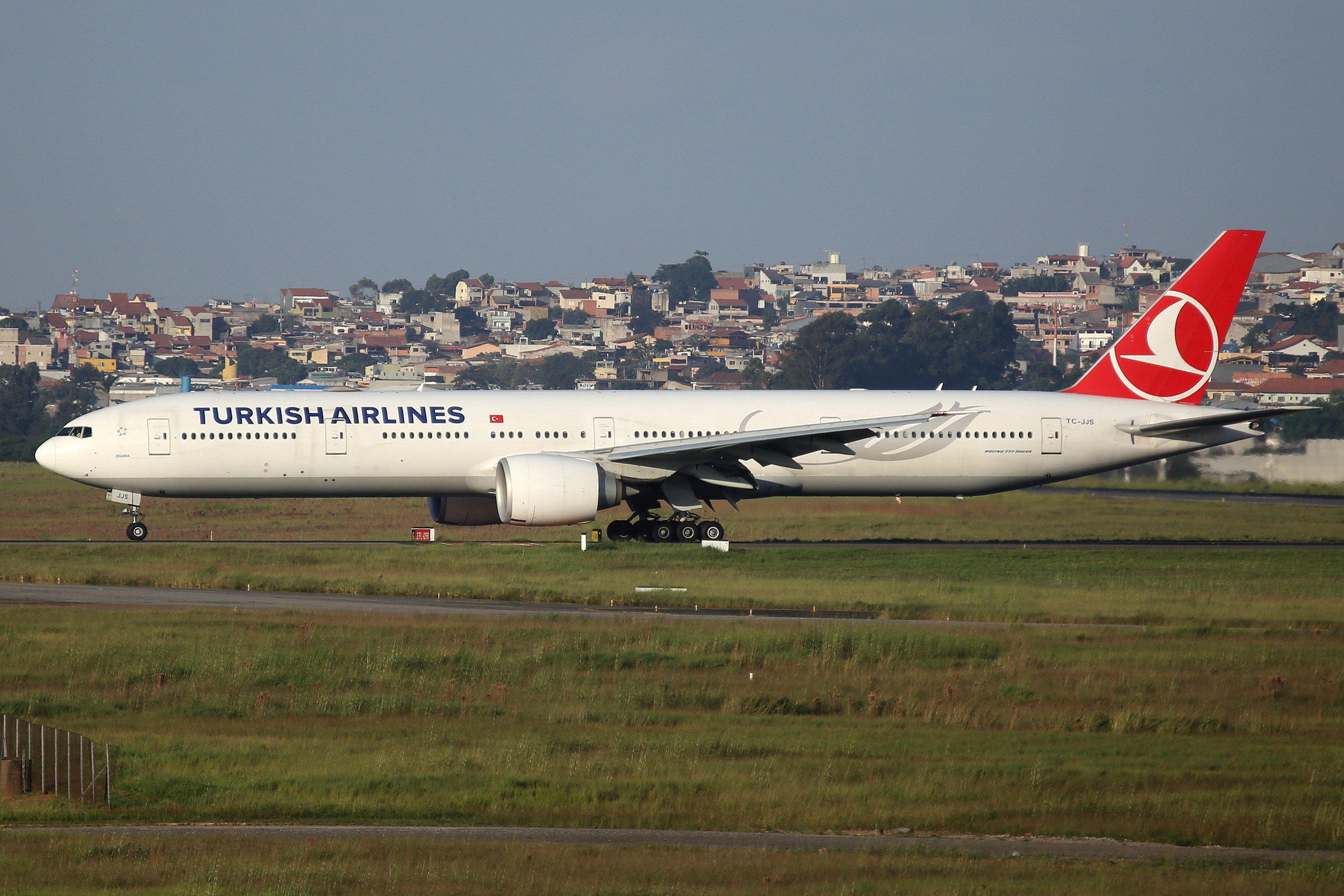 TC-JJS Turkish Airlines B777-3 taken from the roof of the Matiz Hotel at Sao Paulo Guarulhos Airport 27th April 2019 by John Wood