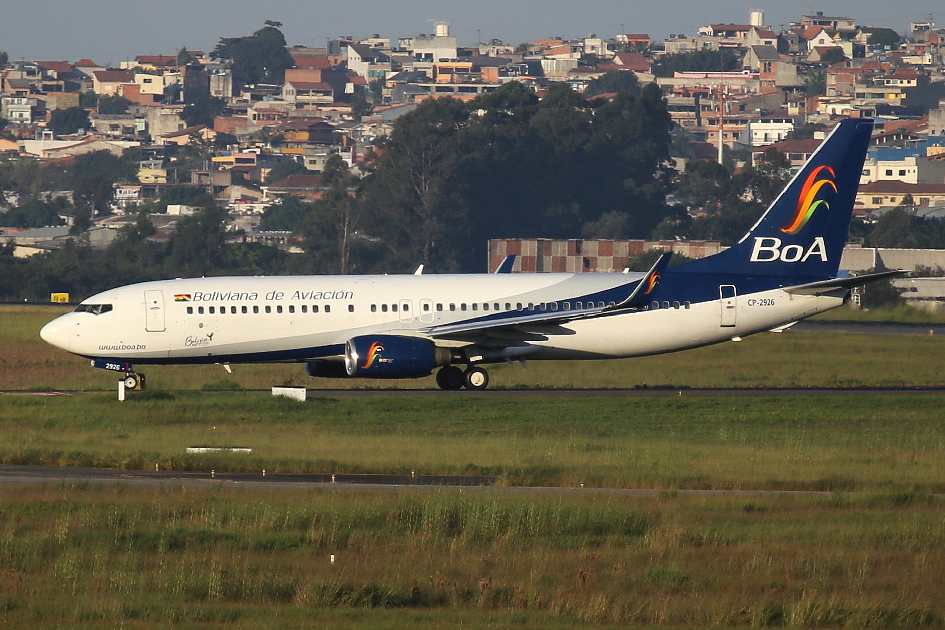 CP-2926 Boliviana de Aviacion (BOA) B737-8W taken from the roof of the Matiz Hotel at Sao Paulo Guarulhos Airport 27th April 2019 by John Wood