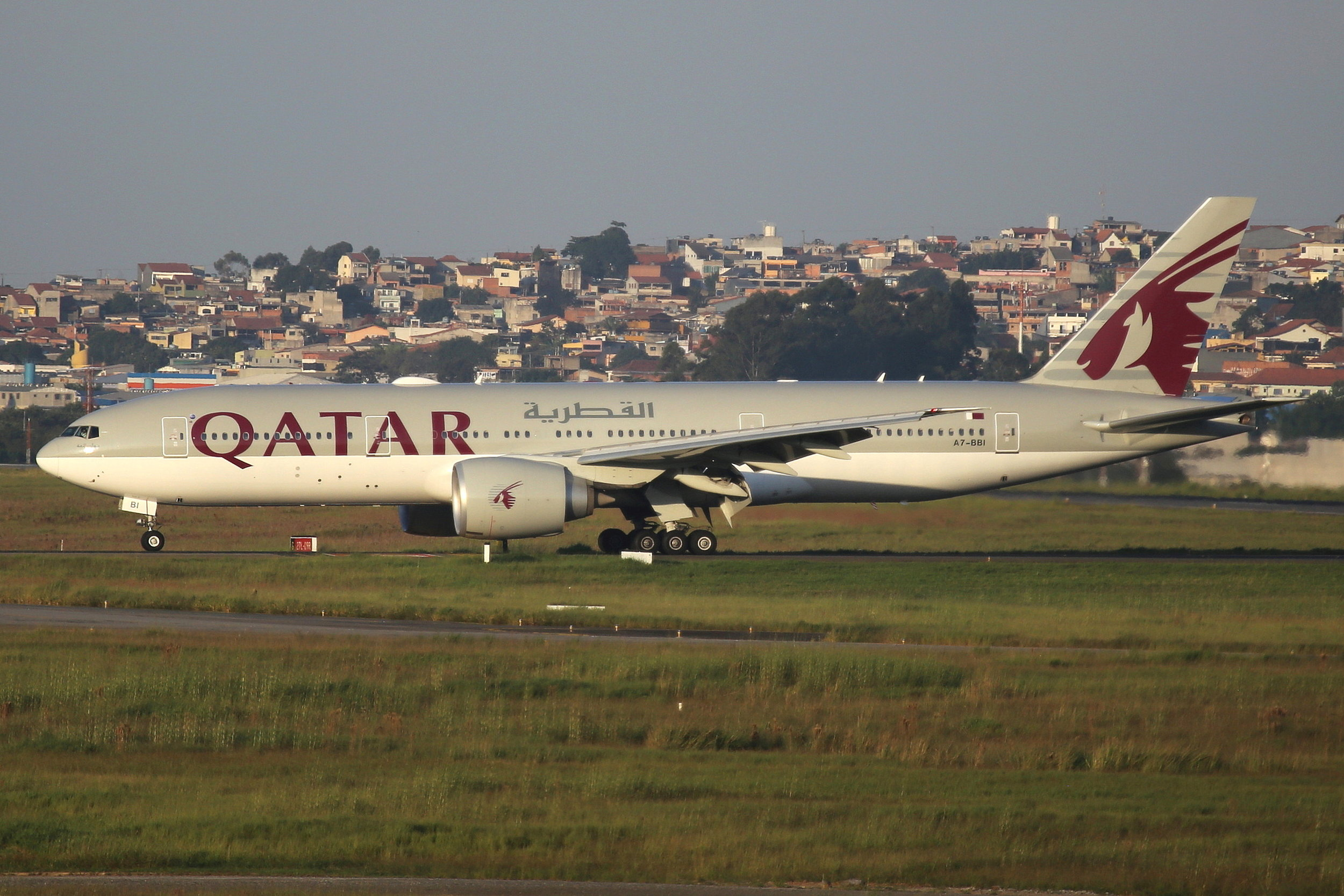 A7-BBI Qatar Airways B777-2LR taken from the roof of the Matiz Hotel at Sao Paulo Guarulhos Airport 27th April 2019 by John Wood