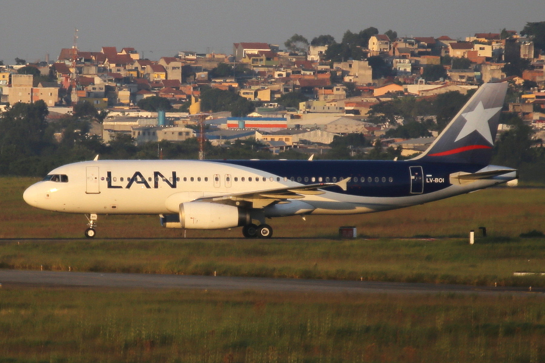 LV-BOI LAN Argentina A320 taken from the roof of the Matiz Hotel at Sao Paulo Guarulhos Airport 27th April 2019 by John Wood
