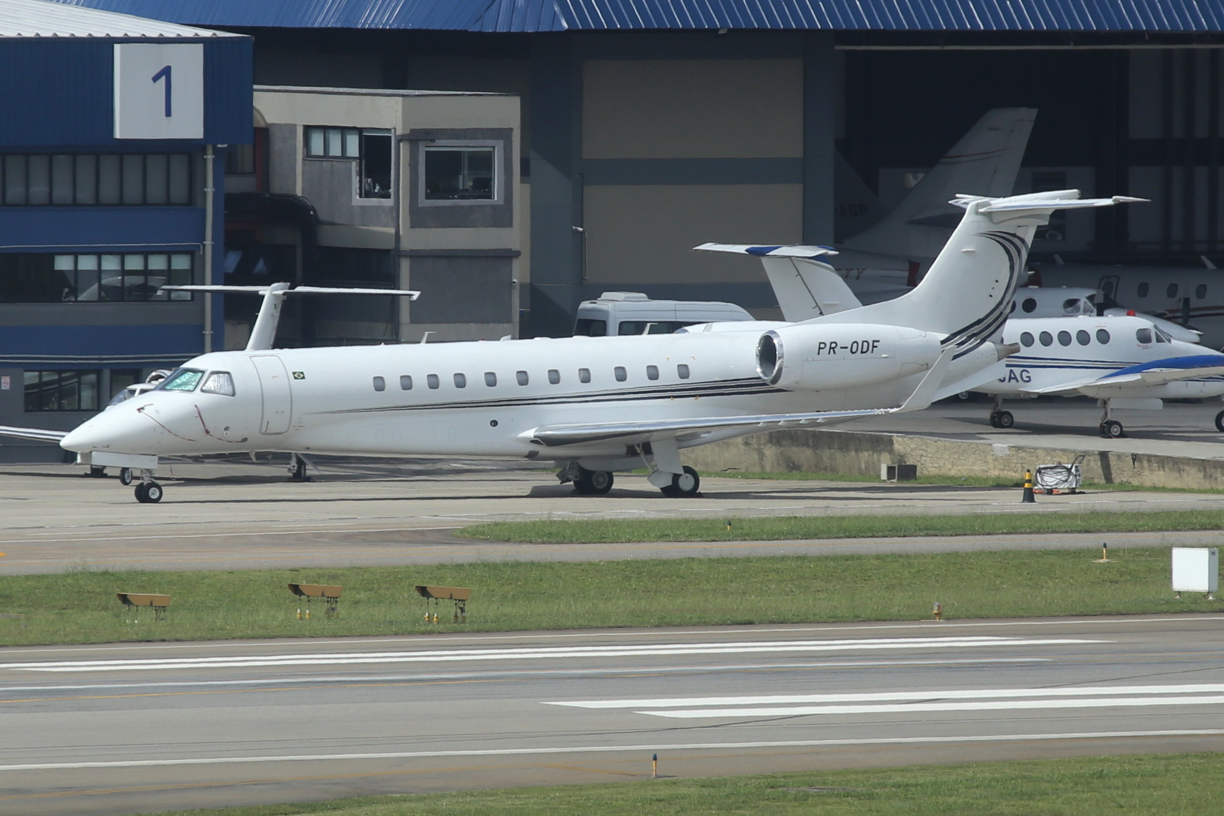 PR-ODF Global Taxi Aero Embraer 135BJ Legacy 600 taken from the Slaveiro Slim hotel at Sao Paulo Congonhas Airport 28th April 2019 by John Wood