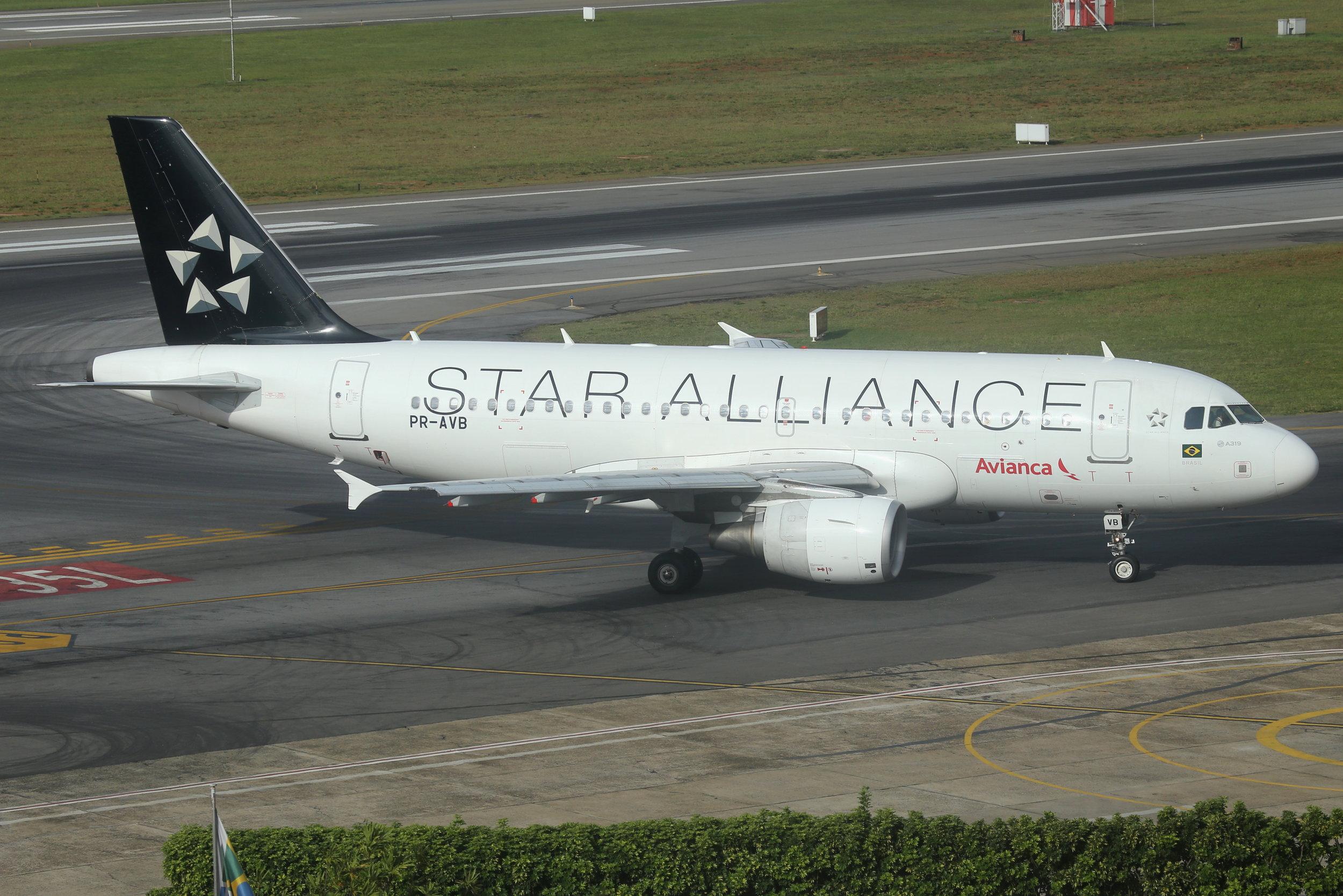 PR-AVB Avianca Brazil A319 taken from the Slaveiro Slim hotel at Sao Paulo Congonhas Airport 28th April 2019 by John Wood