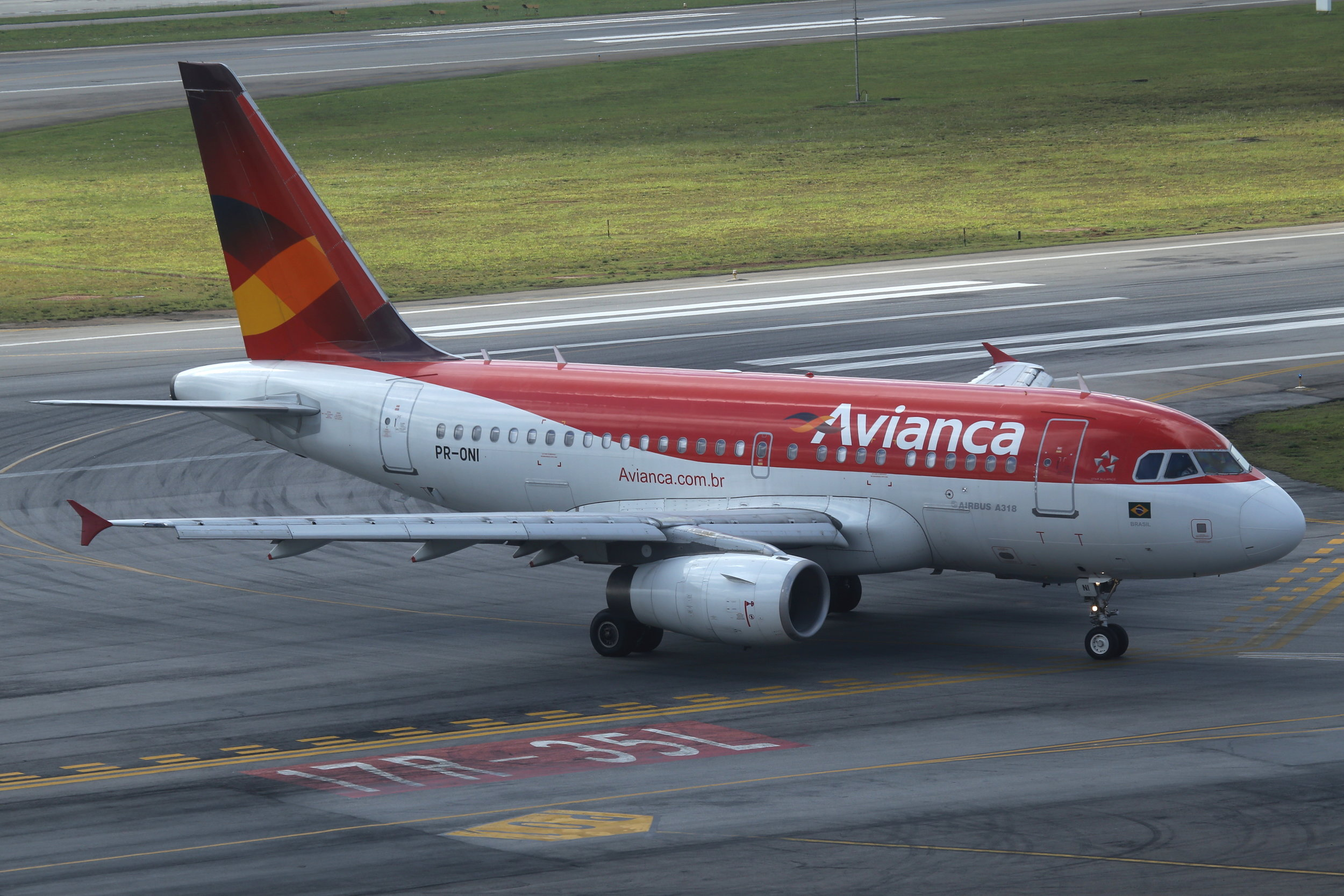PR-ONI Avianca Brasil A318 taken from the Slaveiro Slim hotel at Sao Paulo Congonhas Airport 29th April 2019 by John Wood