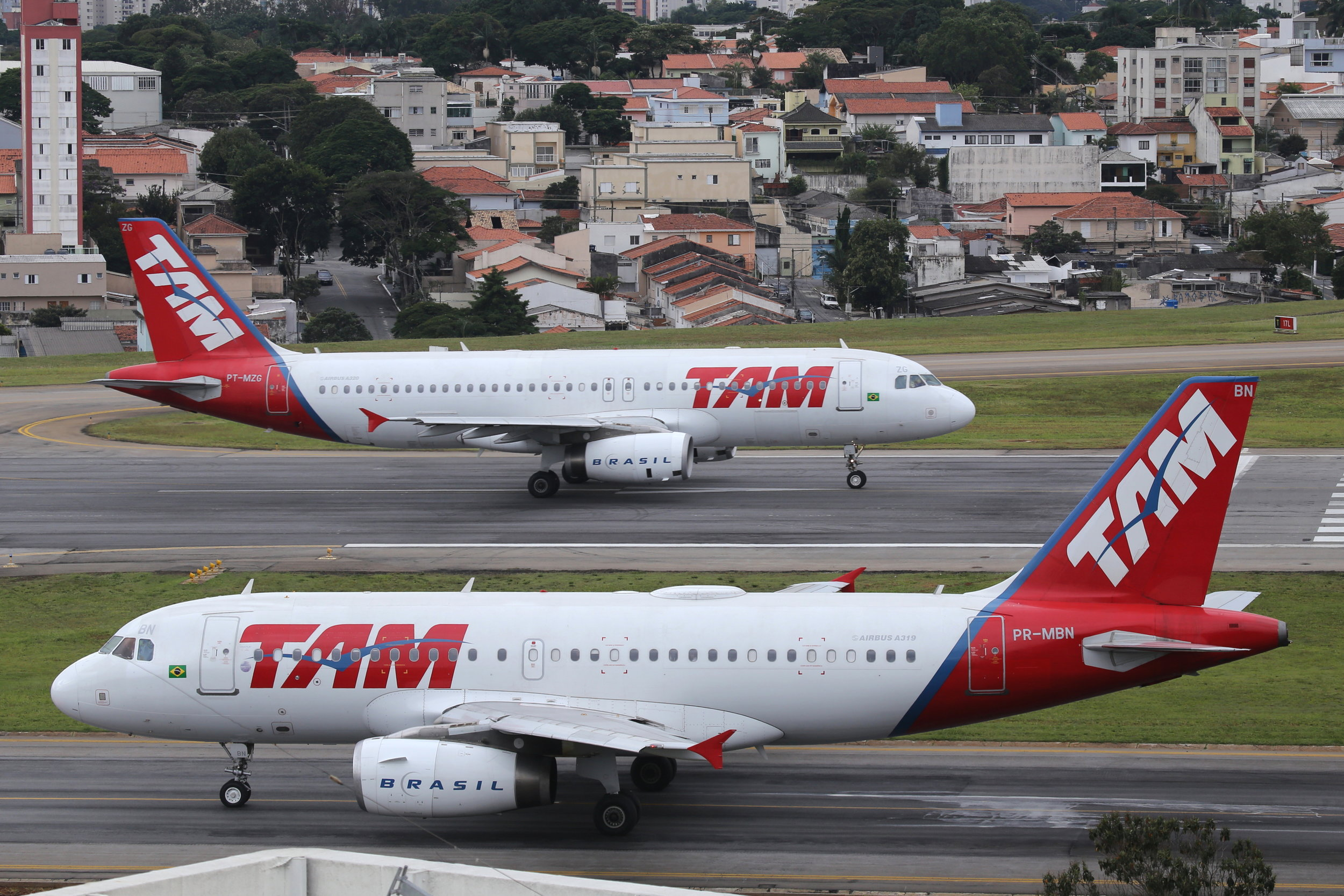 TAM Airbuses taken from the Slaveiro Slim hotel at Sao Paulo Congonhas Airport 29th April 2019 by John Wood