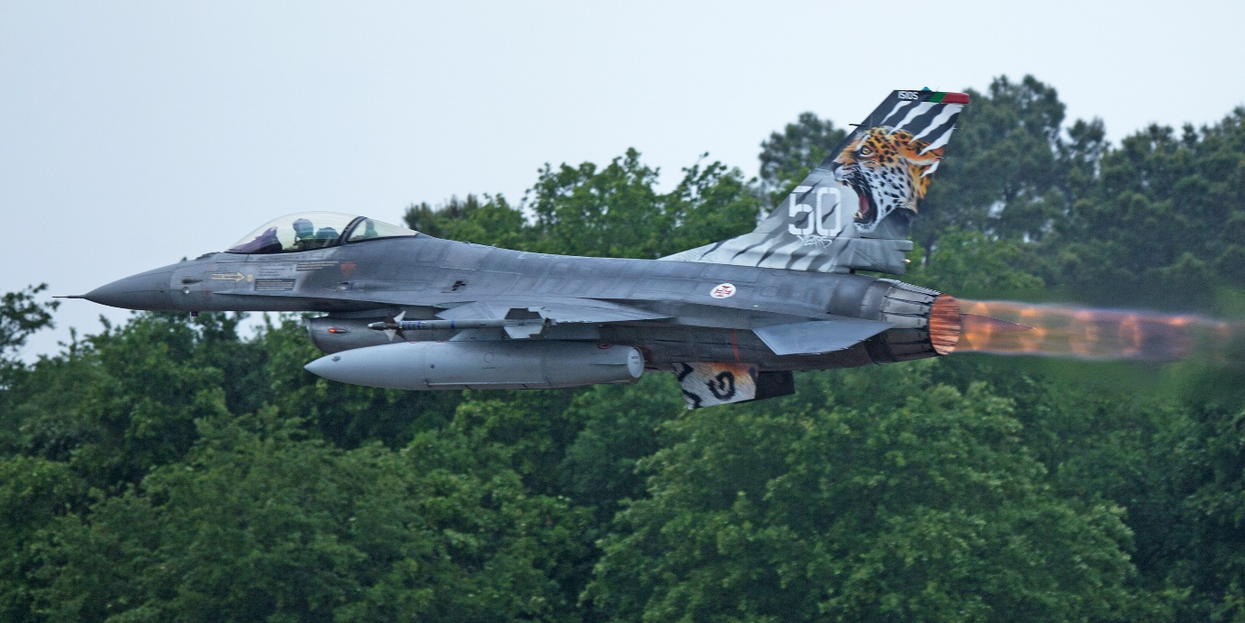 """Photo: Portuguese Air Force F16A MLU of ESQ 301 """"The Jaguars"""" and hosts of the 2020 meet at their Beja Air Base, Portugal. Peter Hampson."""