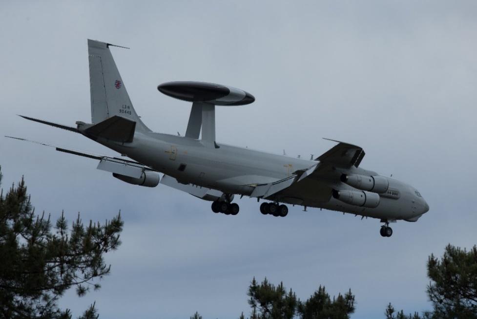 Photo: NATO E3A Sentry LX-N 90448 returns to MDM. Peter Hampson.