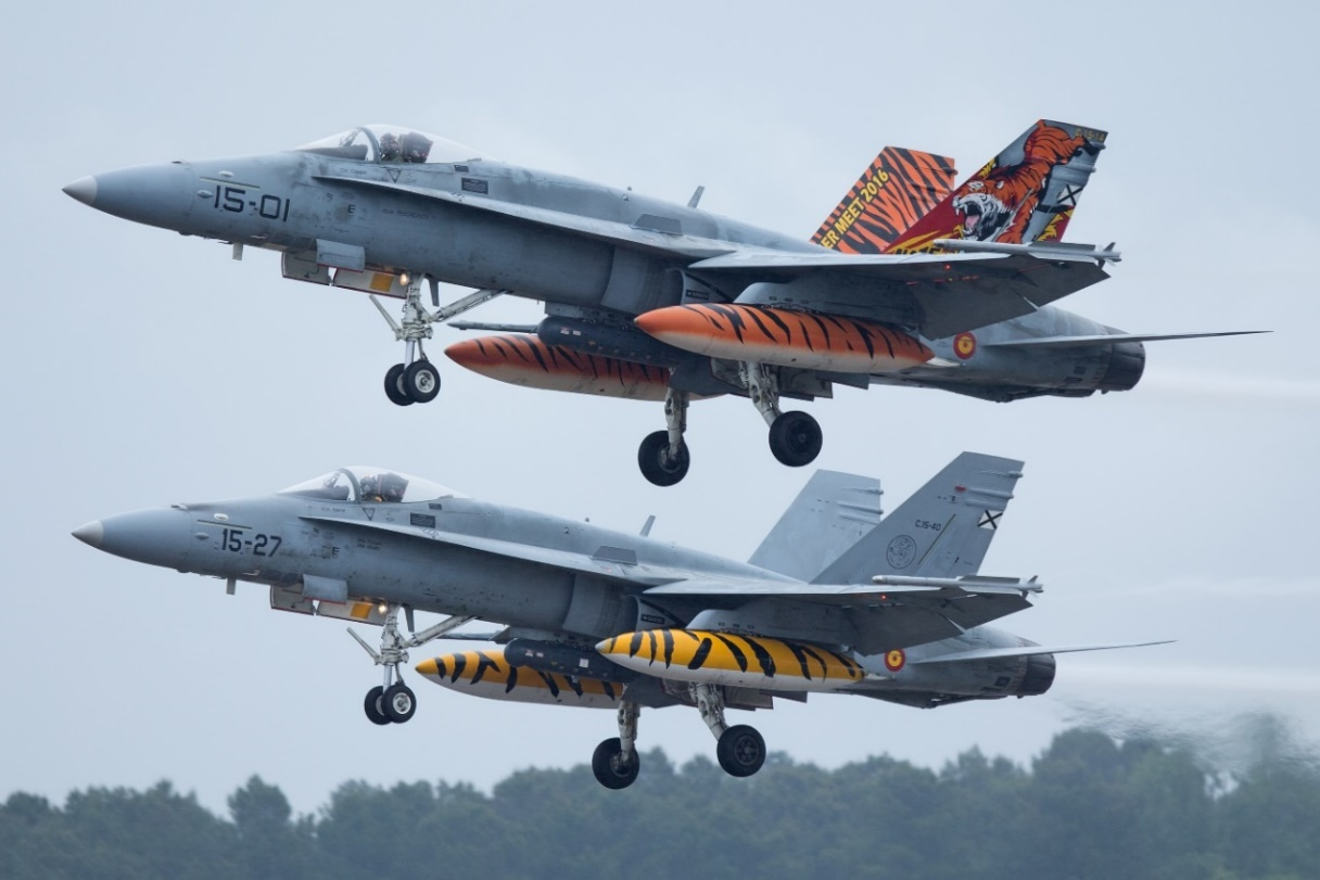 Photo: Spanish Air Force F-18 Hornets depart MDM in tandem. Peter Hampson