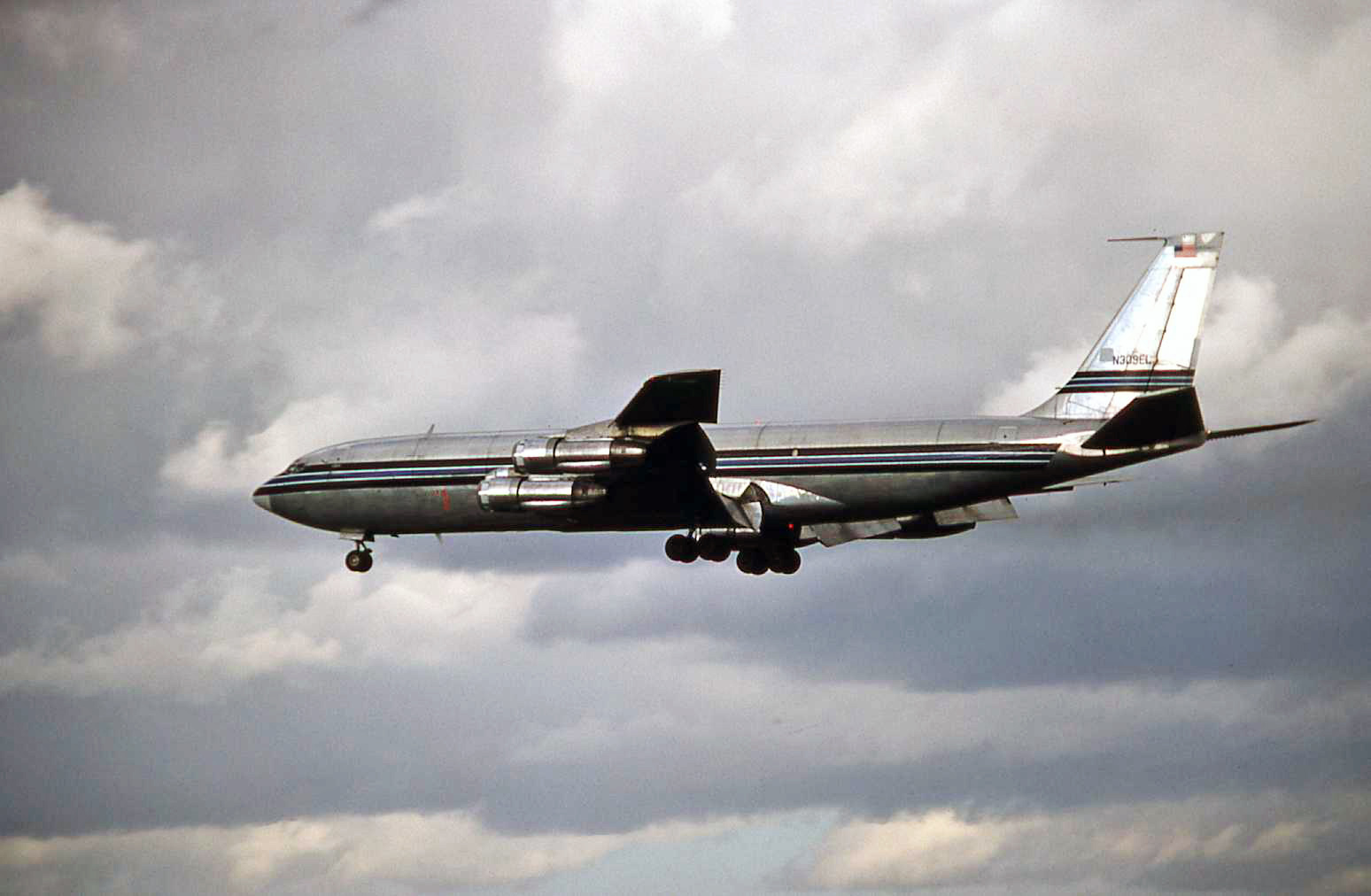N309EL the famous Eli Lilly Boeing 707-323C on approach (I guess) to Liverpool Speke in March 1977.