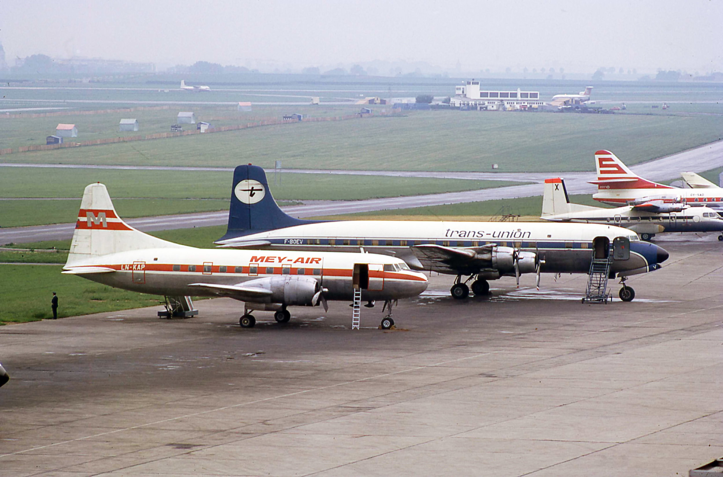 A great collection of classic airliners at Paris Le Bourget in June 1971.