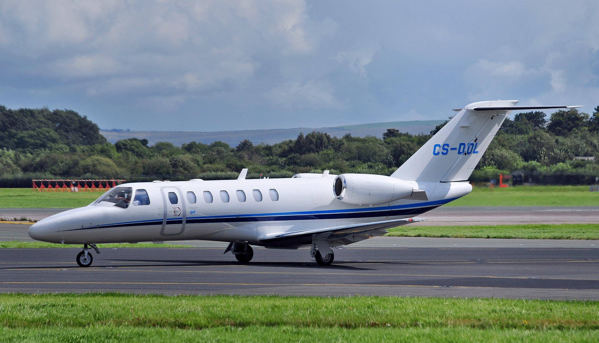 Citation 525 CJ3 CS-DOL is seen taxiing past the RVP on Sunday 1st September.Photo: Ross Fearn.