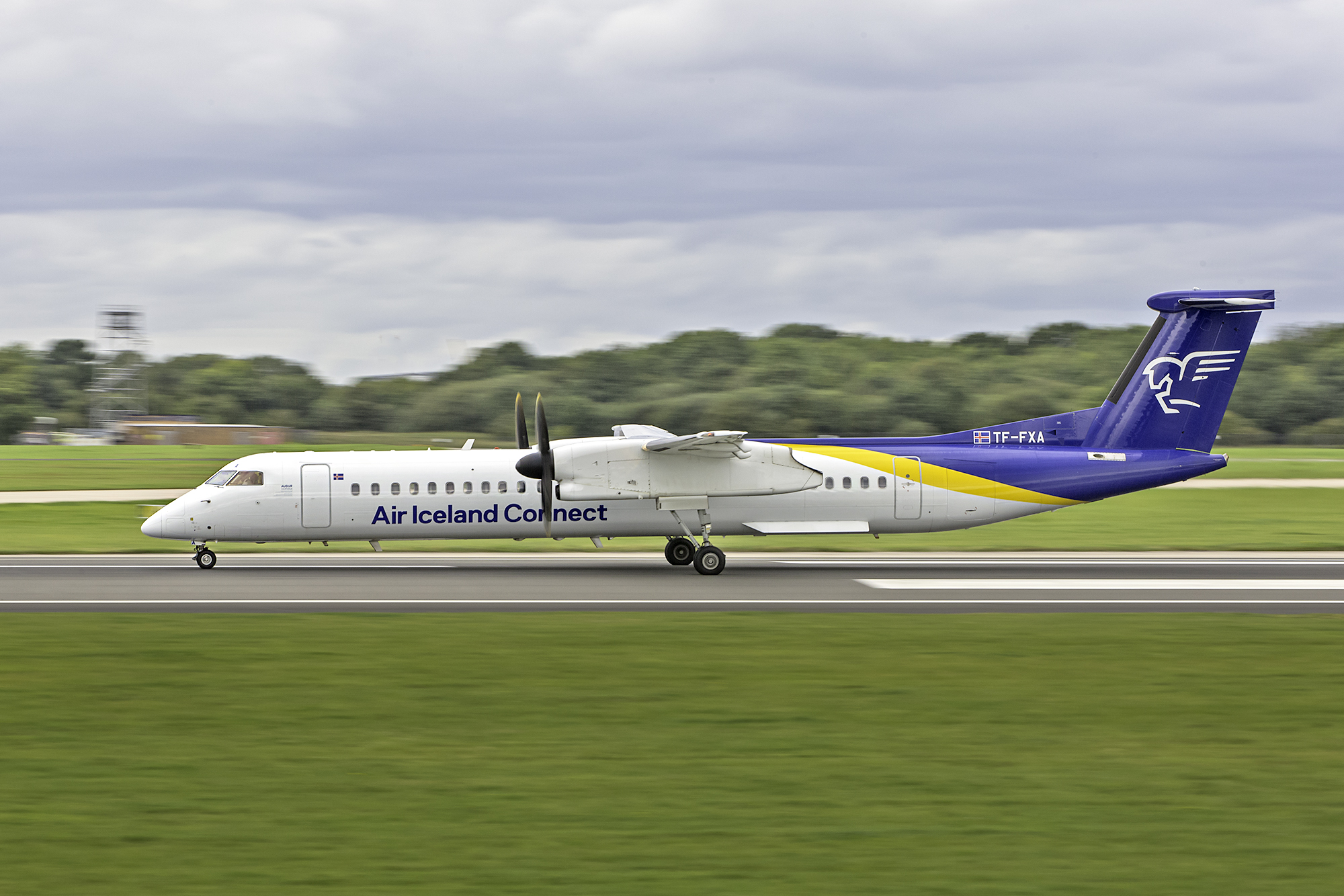 Air Iceland Connect Dash 8 TF-FXA was nicely captured gaining momentum for departure on 23 Left by Paul Bailey on 2nd September 2019.
