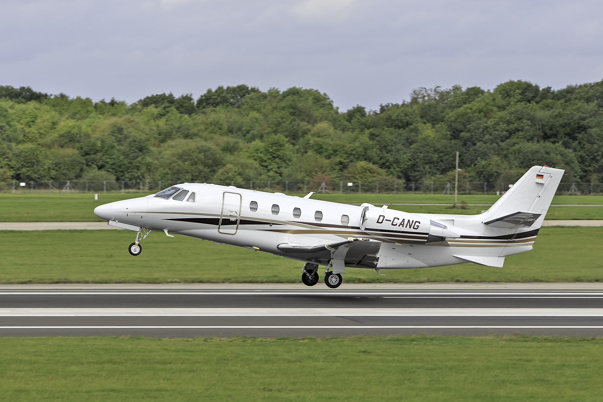 Citation 560 XLS D-CANG was photographed rotating from Runway 23 Left on 2nd September by Paul Bailey.