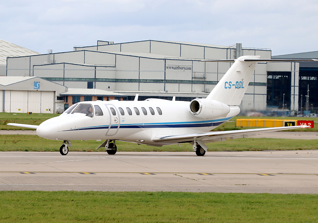 Citation 525 CJ3 CS-DOL is seen lining up for departure on 23 Left. 2nd September 2019. Photo: Paul Tomlin