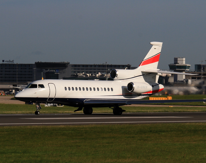 Falcon 7X M-GMKM is seen departing on Runway 23 Left on 5th September.Photo.Steve Seal.