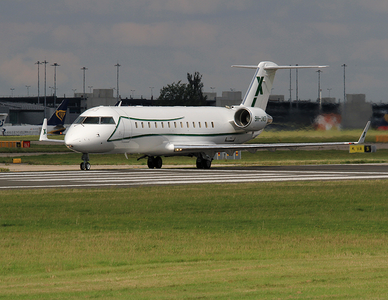 Challenger 850 9H-JAD gets ready to roll on Runway 23 Left on Sunday 8th September. Photo: Steve Seal