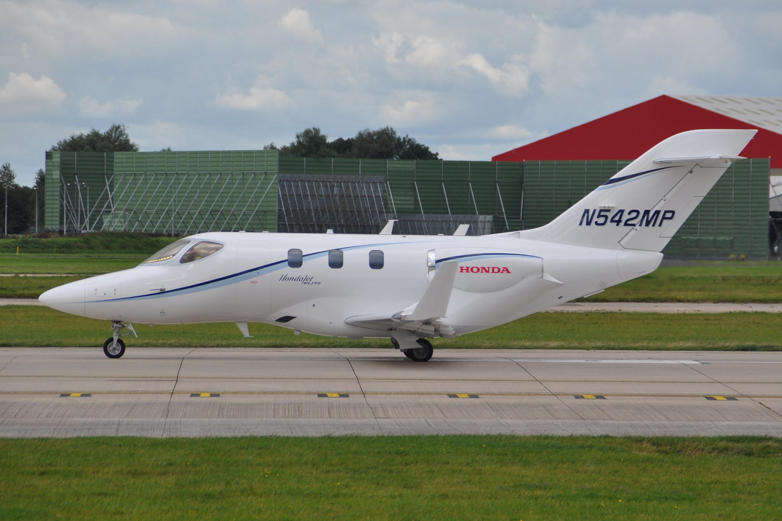Honda Jet HA420 N524MP is preparing to depart on Runway 23 Left on Saturday 7th September. Photo. Ian Jarman.