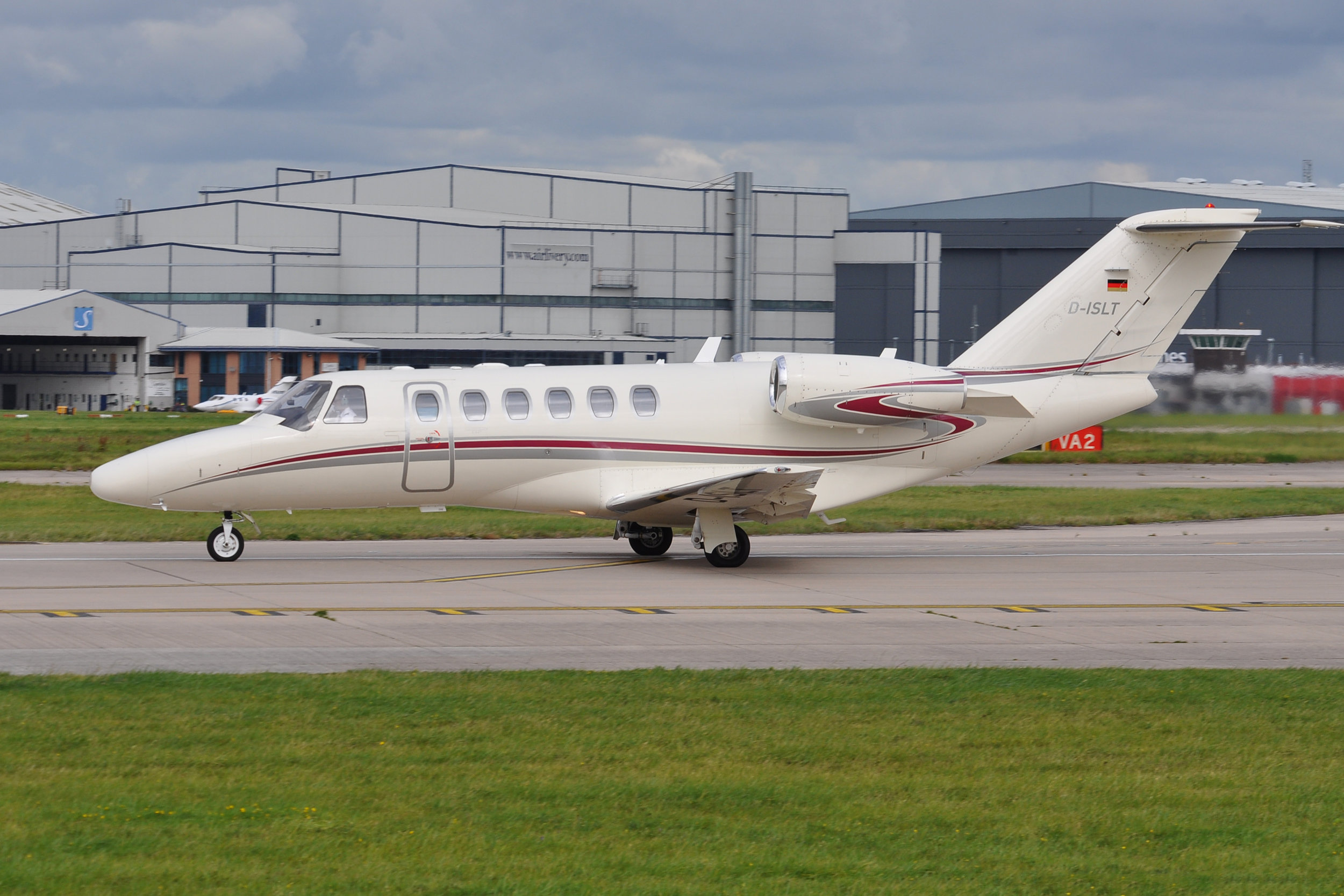 Citation 525A CJ2 D-ISLT lines up for departure from Runway 23 Left on 7th September.Photo:Ian Jarman