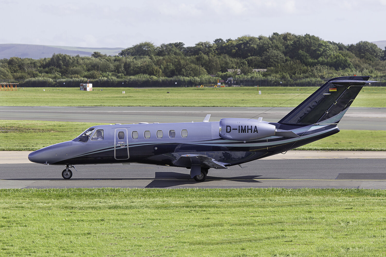 Citation 525 CJ2 D-IMHA is seen taxiing past the Runway Visitor Park on 11th September. Photo:Paul Bailey.