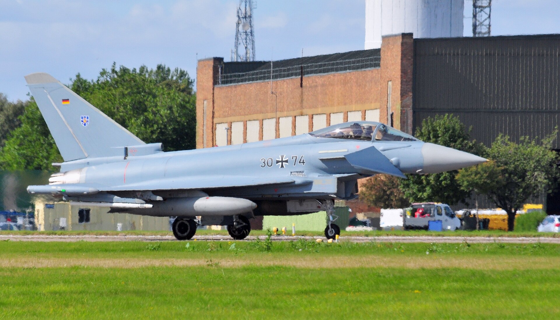 German Air Force Typhoon 3074 taxiing out at Waddington 13th September