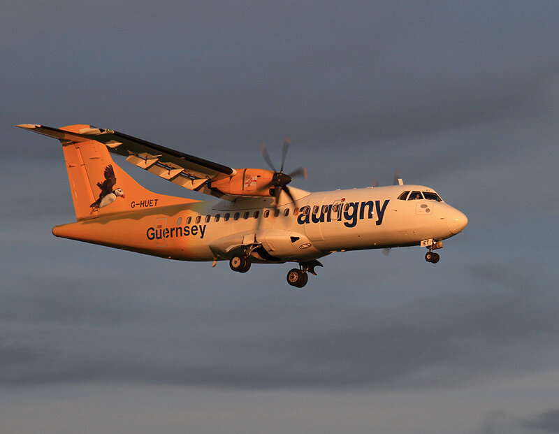 Aurigny ATR 42 G-HUET providing the perfect subject matter for a Golden Hour shot for Steve Seal on 14th September 2019