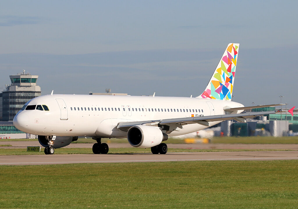Adios Manchester…Gowair A320 EC-MQH prepares to depart Runway 23 Left. 14th September 2019. Photo:Paul Tomlin.