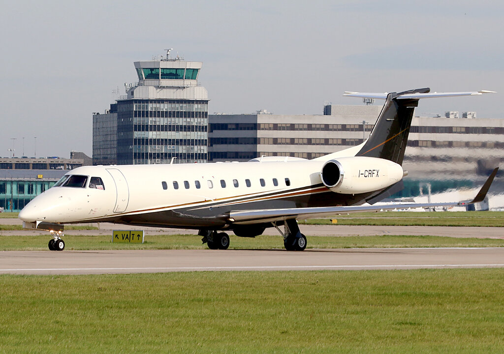 Embraer 135BJ Legacy I-CRFX at Manchester on Saturday 14th September . Photo: Paul Tomlin.
