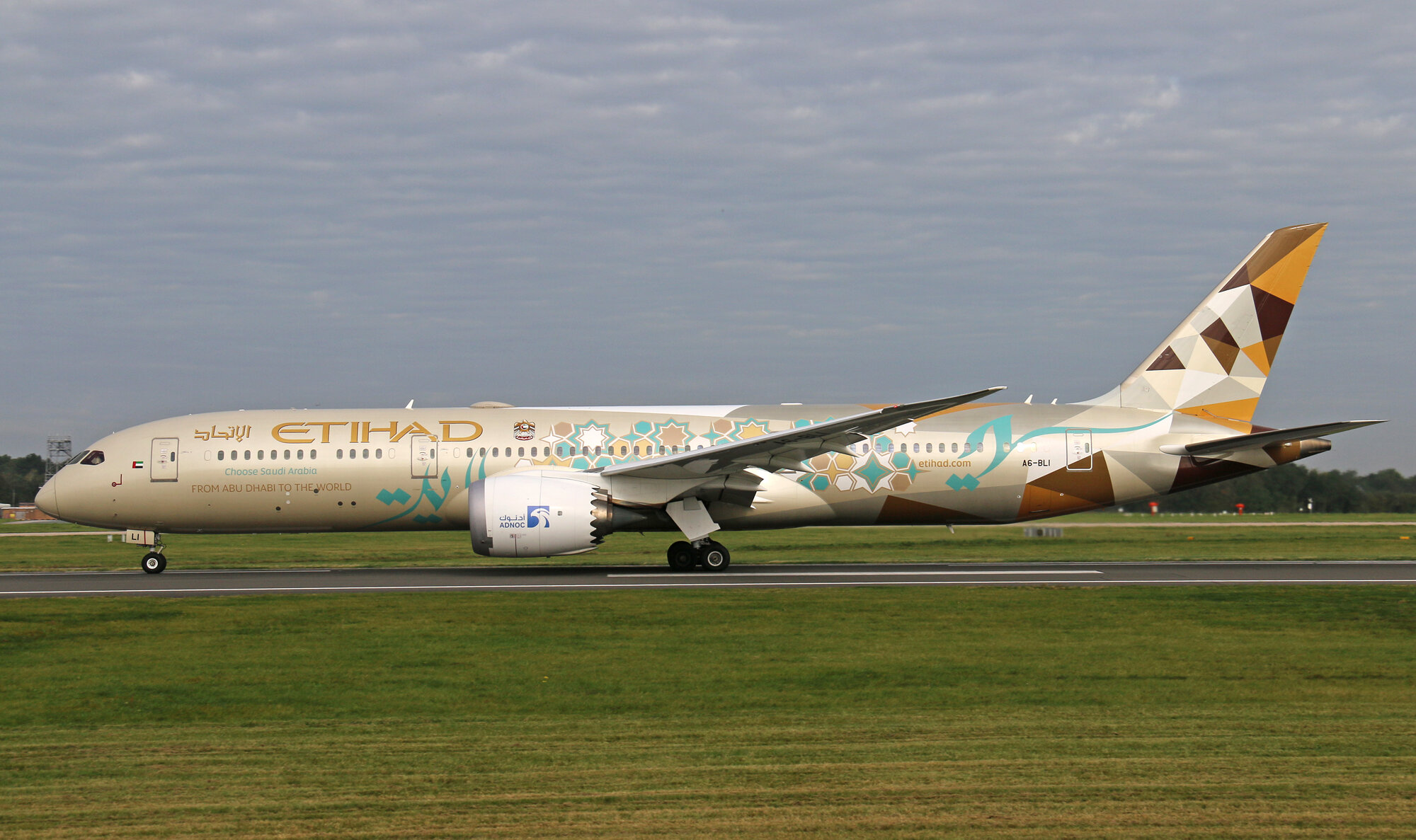 "Many thanks to Tom Gowland who captured Etihad B787-9 A6-BLI sporting their ""Choose Saudi Arabia"" livery on 18th September."