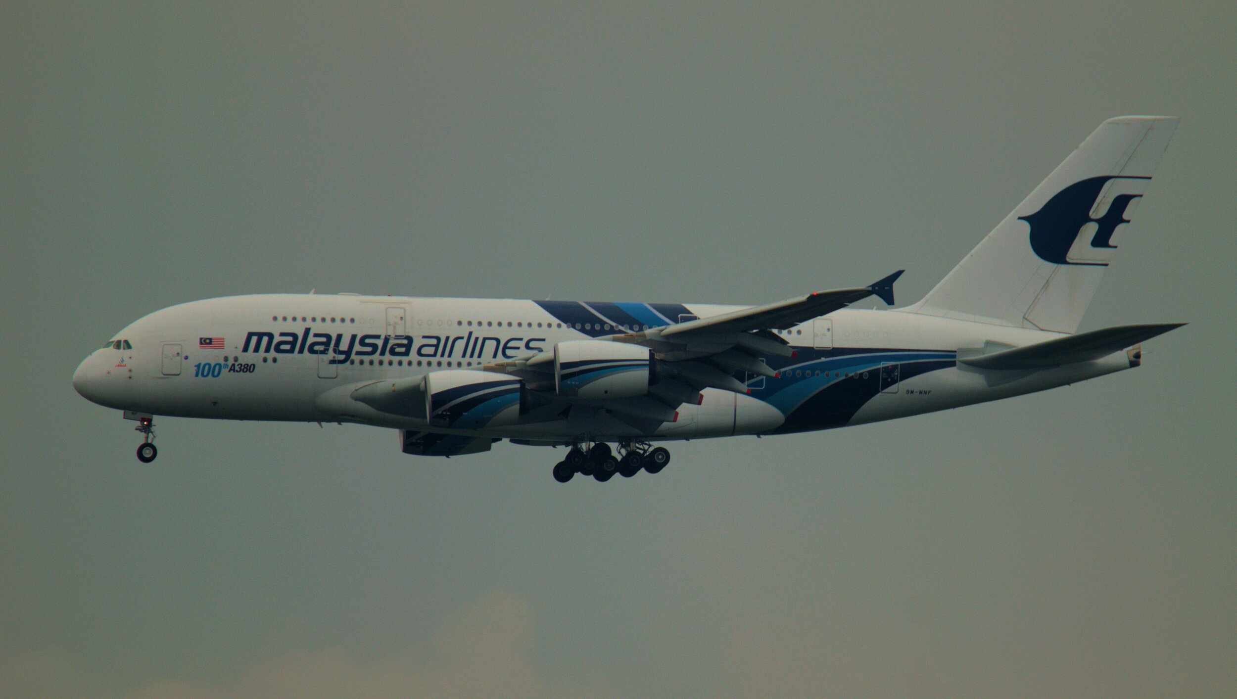 Malaysian Airlines A380 9H-MNF on approach to Runway 23 Right 25th September 2019. Photo: Andy Santini.