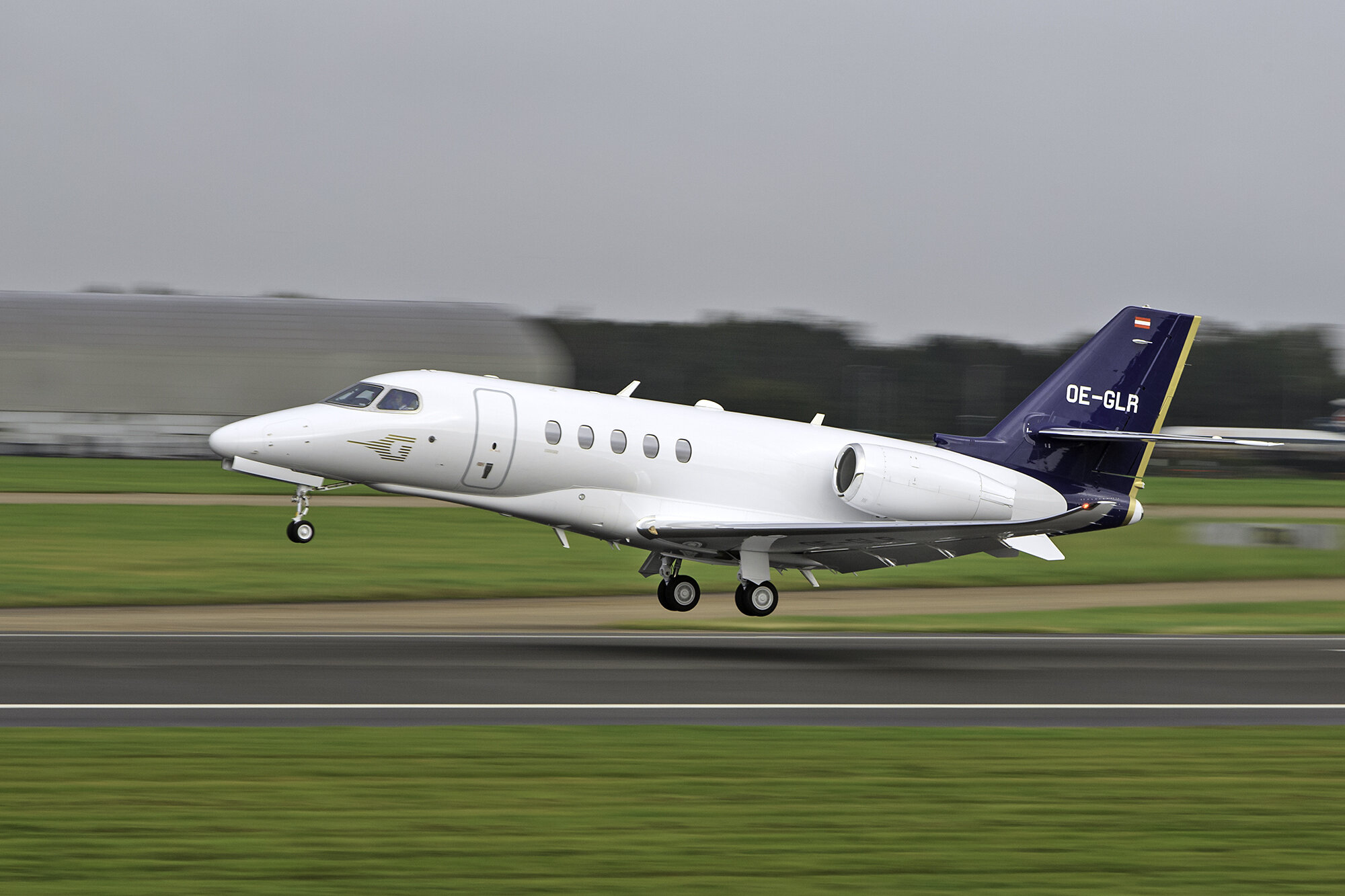 Citation 680 OE-GLR departing on 23 Left on 25th September.Photo: Paul Bailey