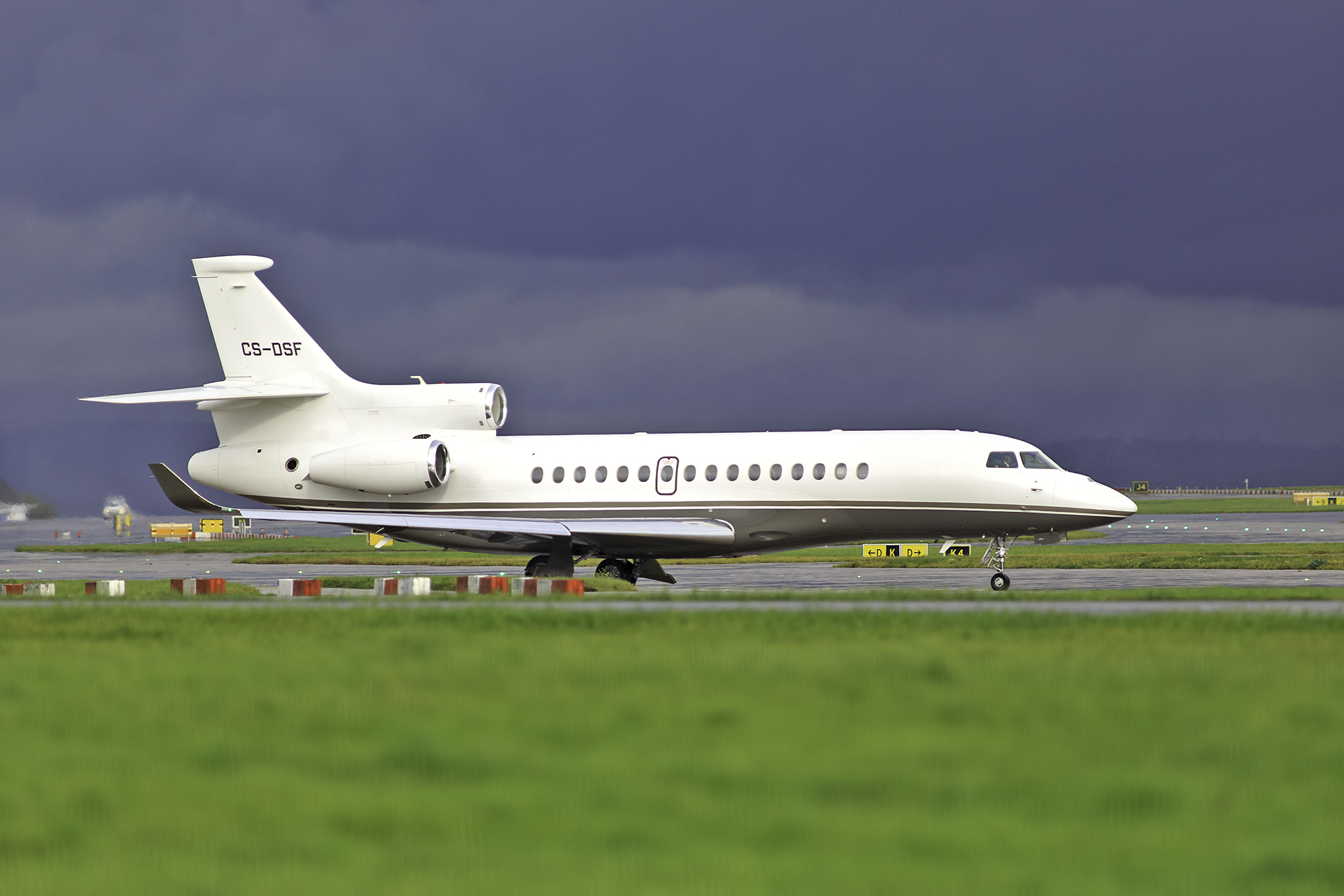 Net Jets Europe Falcon 8X CS-DSF looking proud in the dominant Manchester Sky on 27th September. Photo; Paul Bailey.