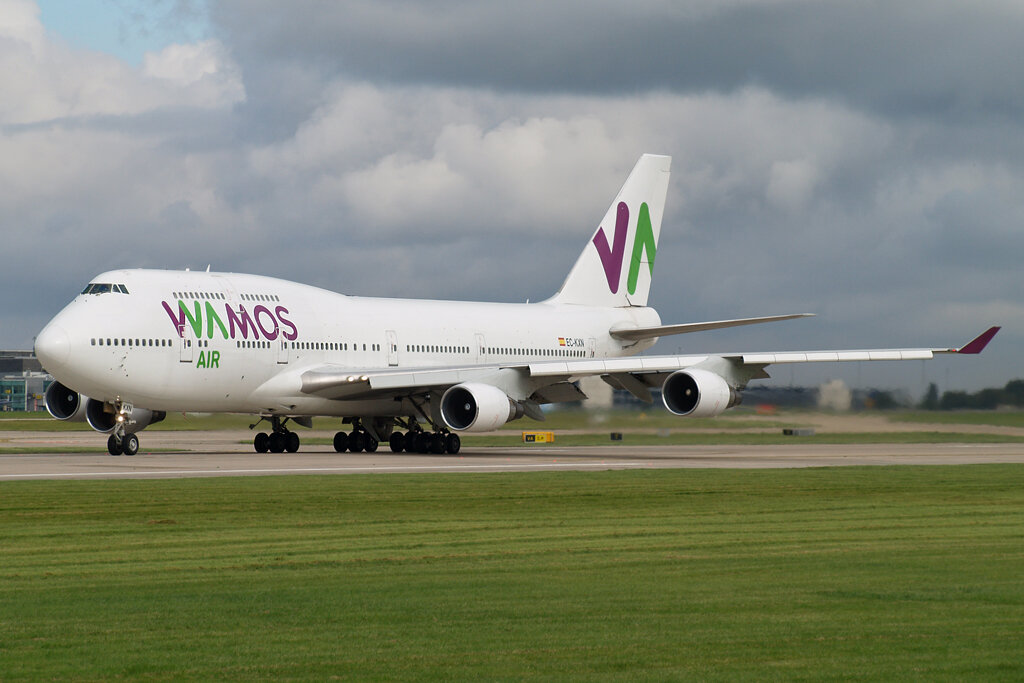 WAMOS B747-400 EC-KXN linesup for departure on Runway 23 Left.30th September 2019.Photo: Stuart Prince.