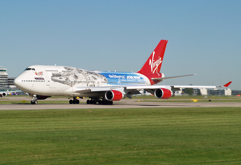"Virgin B747-400 G-VLIP wearing the Star Wars ""Falcon"" Livery at Manchester 2nd October. With thanks to Stuart Prince."