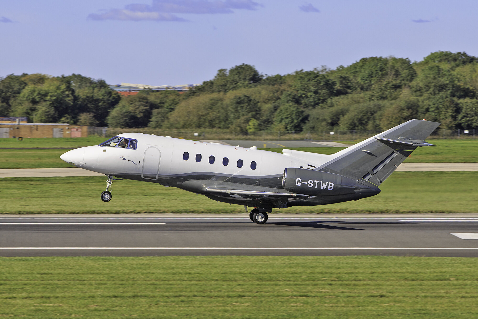 ….and rotate! Hawker 750 G-STWB becoming airborne from 23 Left on 2nd October. Photo: Paul Bailey.