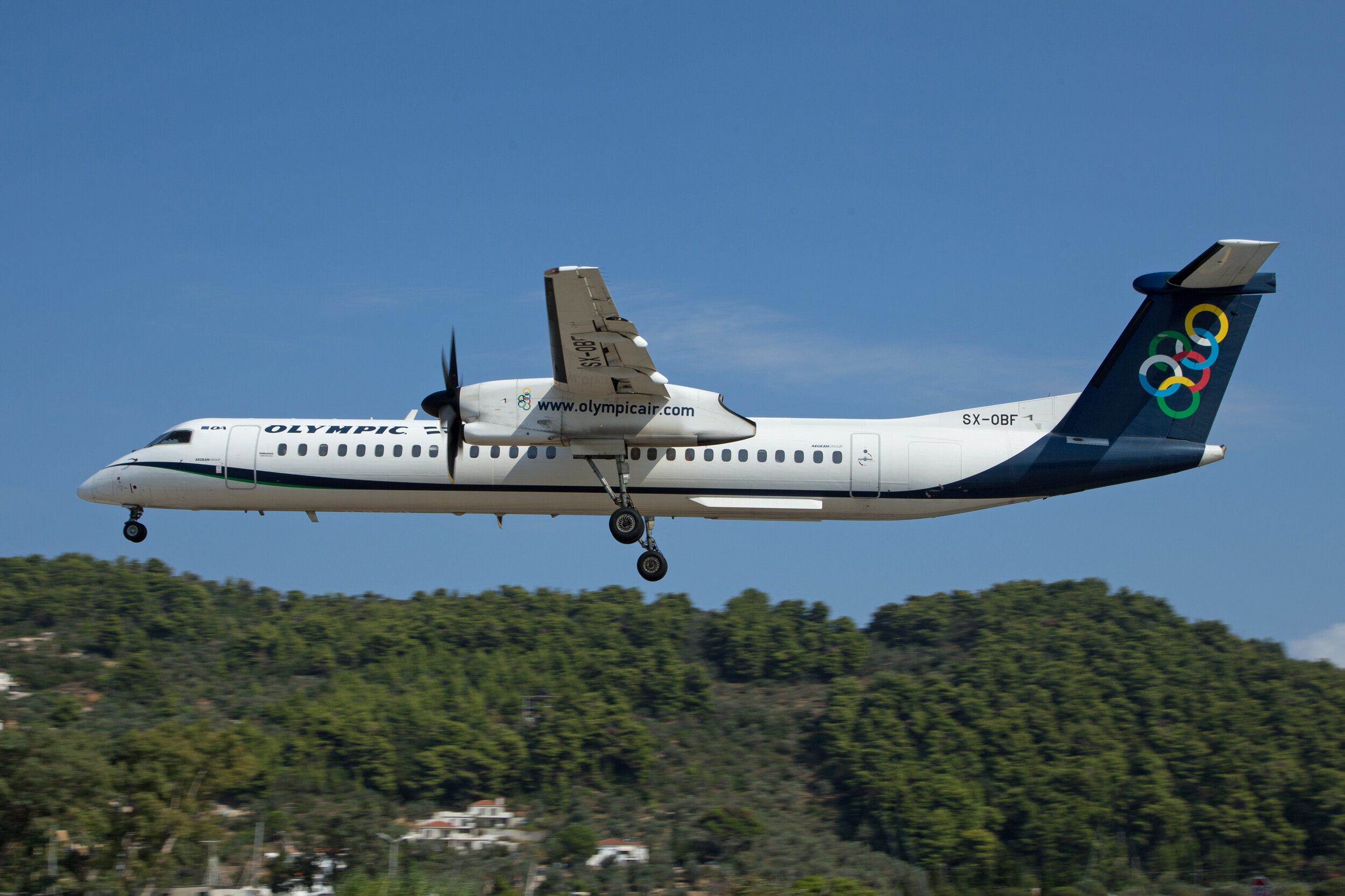 During the Summer months Olympic operate a late afternoon Dash 8 service from Athens.Peter H